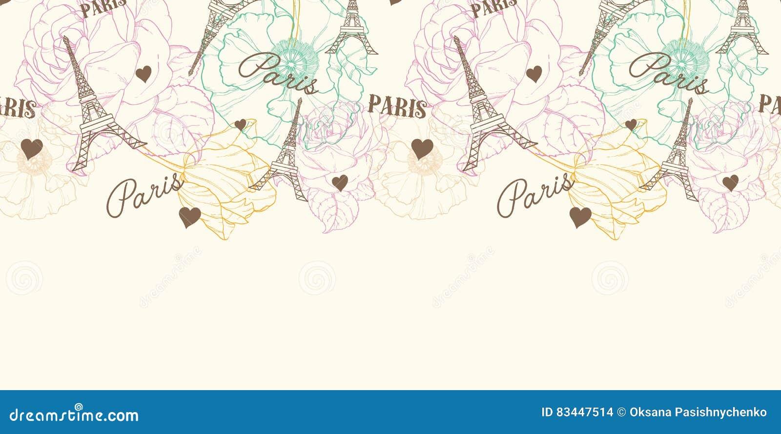 Граница безшовной картины Парижа башни Eifel вектора горизонтальная в винтажном стиле с красивыми, романтичными пастельными цветк