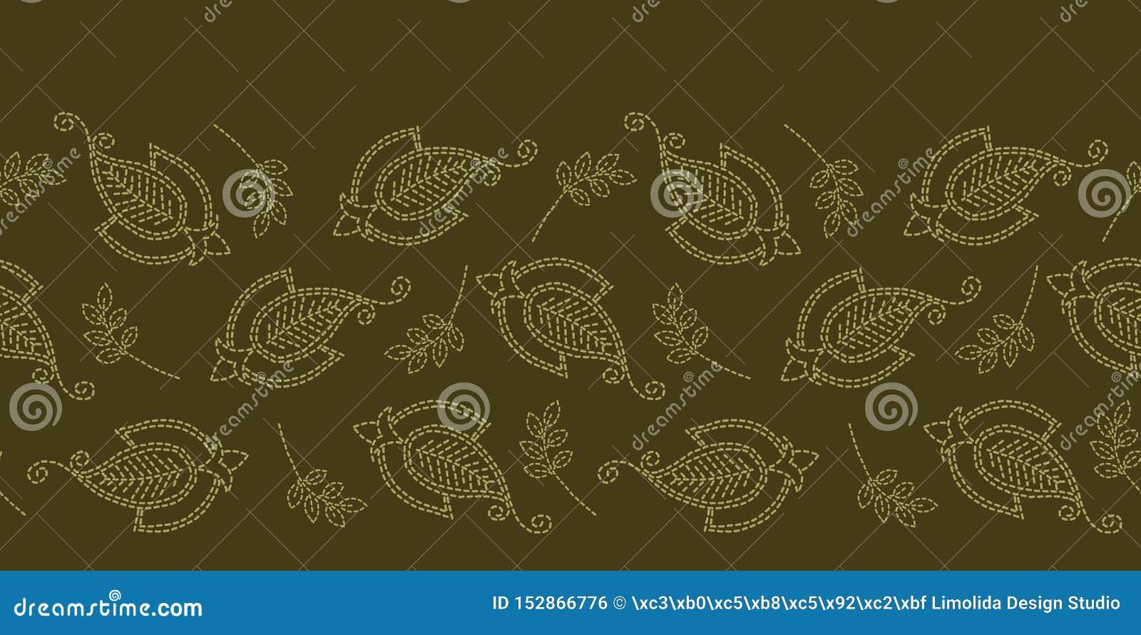 Граница идущим стежком мотива Пейсли флористических лист Картина вектора викторианского needlework безшовная Рука сшила boteh