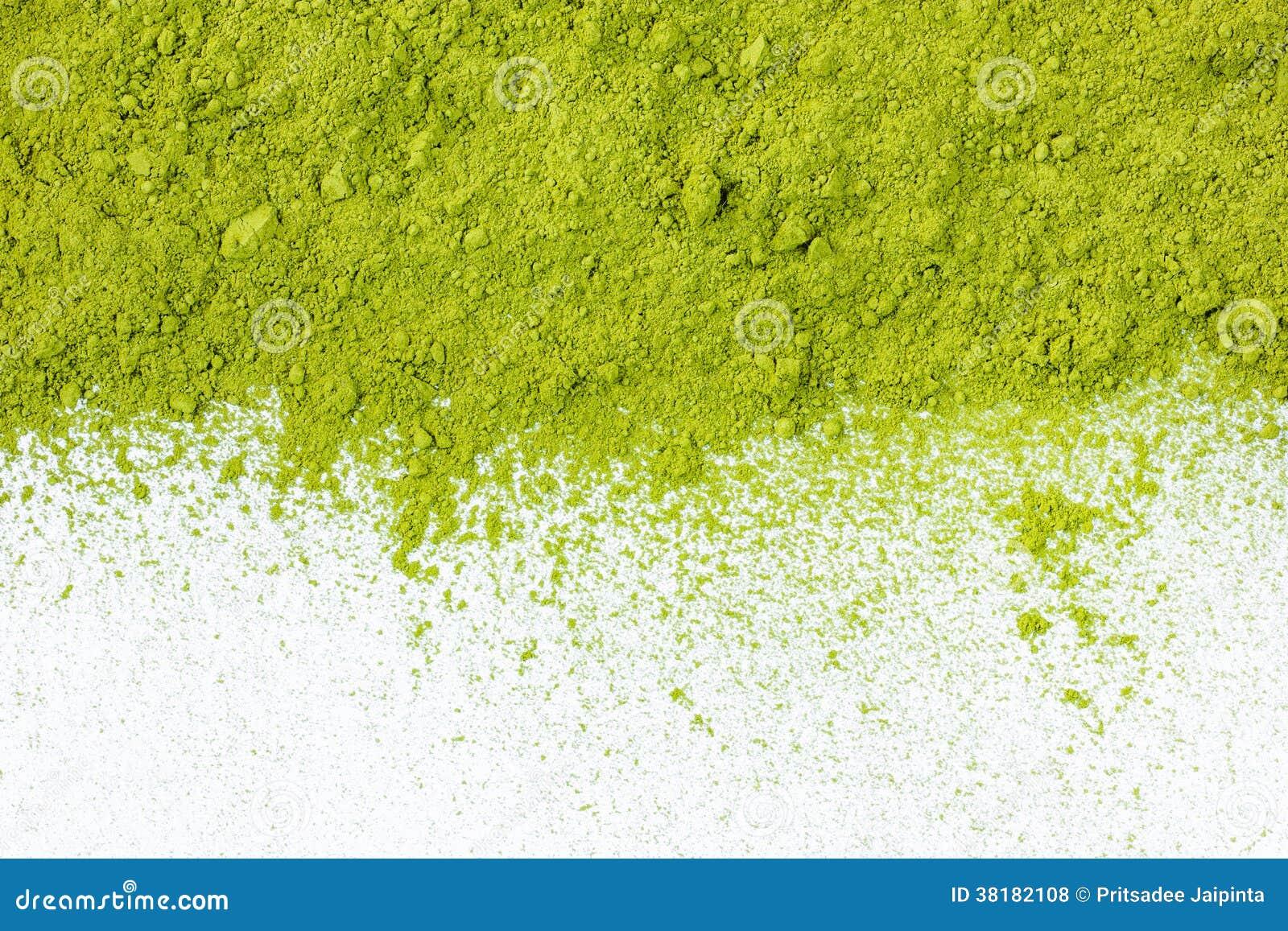 Граница напудренного конца взгляд сверху зеленого чая вверх
