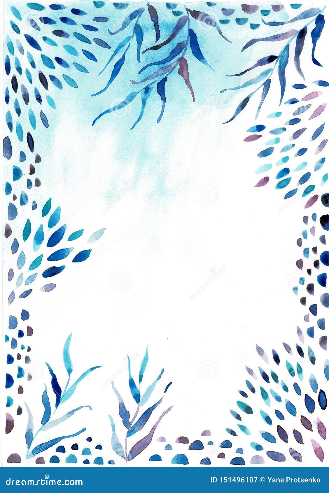 Граница рамки акварели Текстура с зелеными цветами, ветвь, листья, тропические листья, листва Улучшите для свадьбы, приглашений