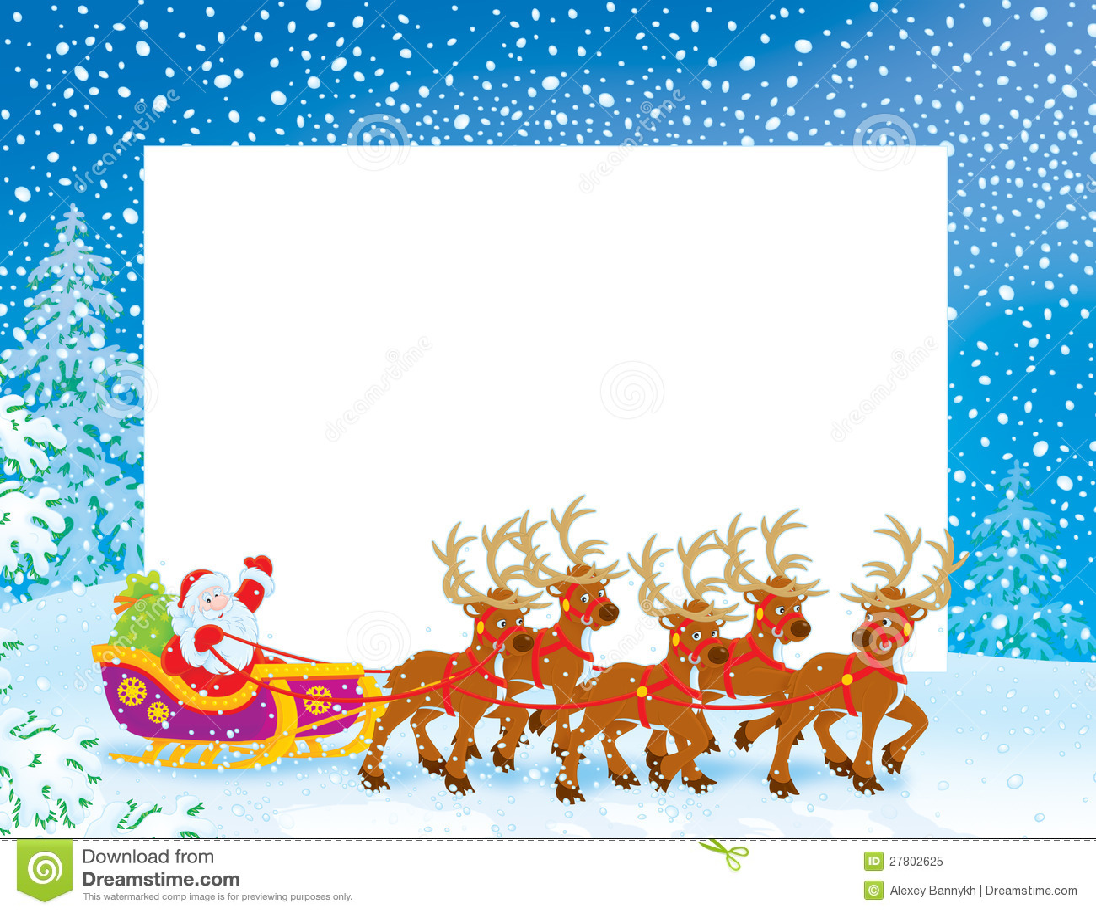 Граница с санями Santa Claus