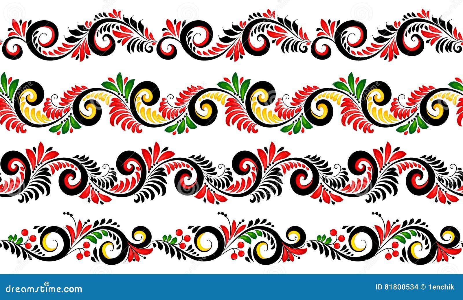 Границы черных и красных цветов богато украшенные установили в русский стиль khokhloma