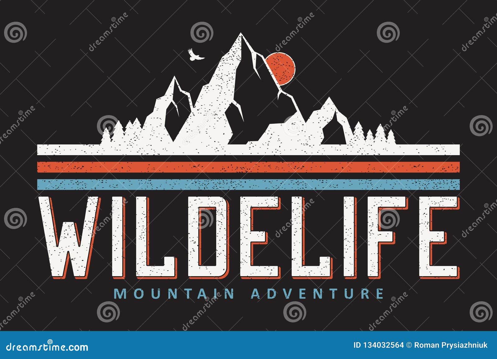 Графики оформления горы для футболки лозунга На открытом воздухе печать приключения для одеяния, дизайна футболки с grunge вектор