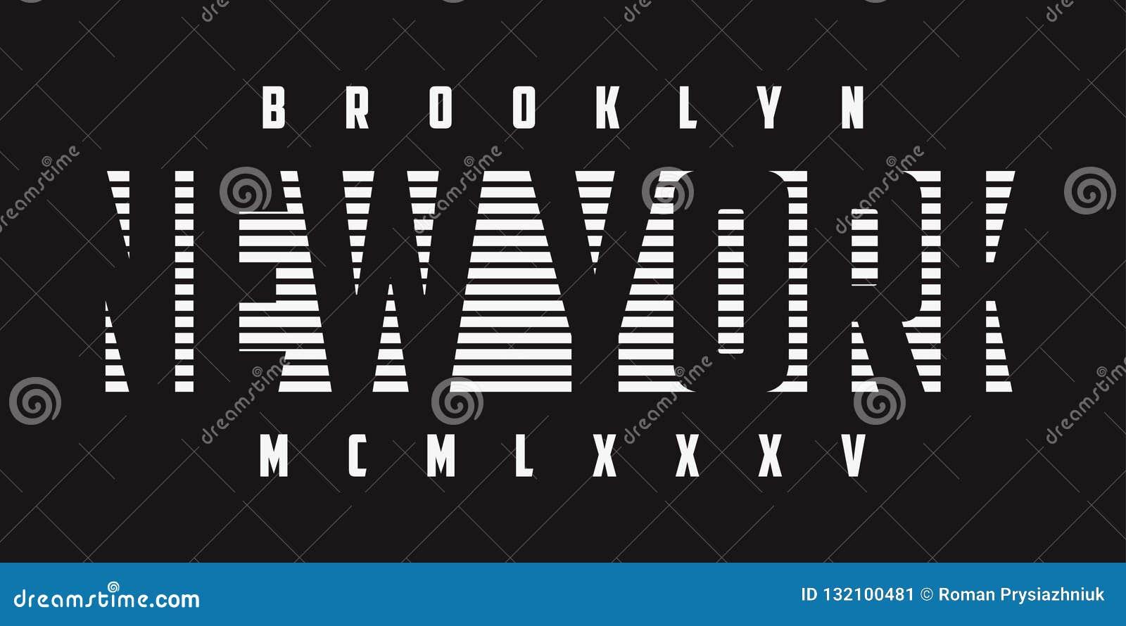 Графики оформления Нью-Йорка для футболки b/w Печать футболки лозунга Бруклина вектор