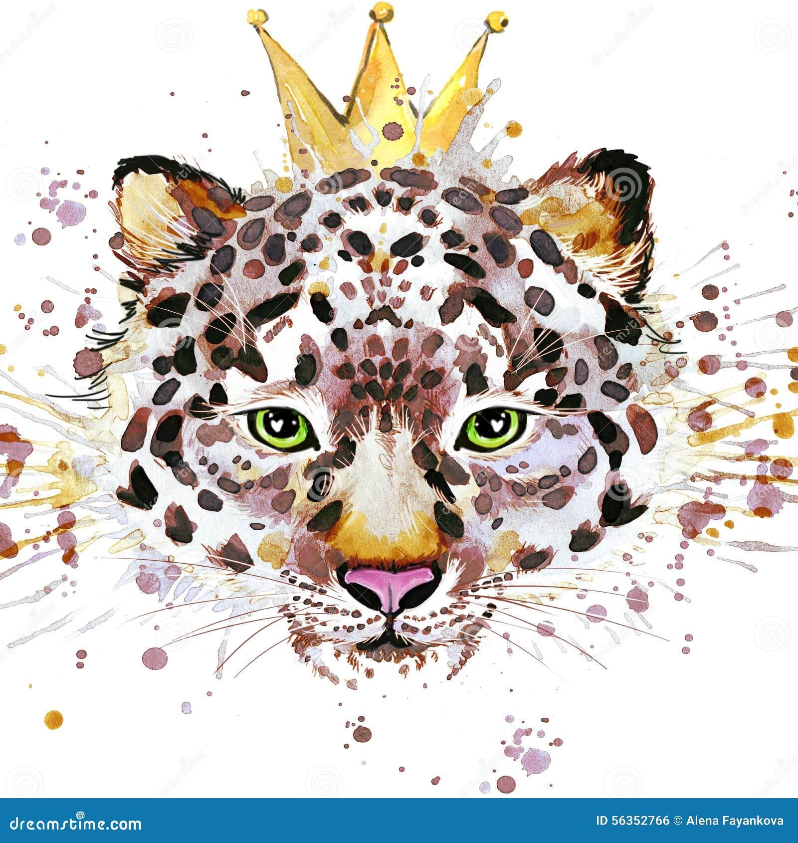 Графики футболки леопарда Иллюстрация леопарда с предпосылкой выплеска текстурированной акварелью необыкновенная акварель иллюстр