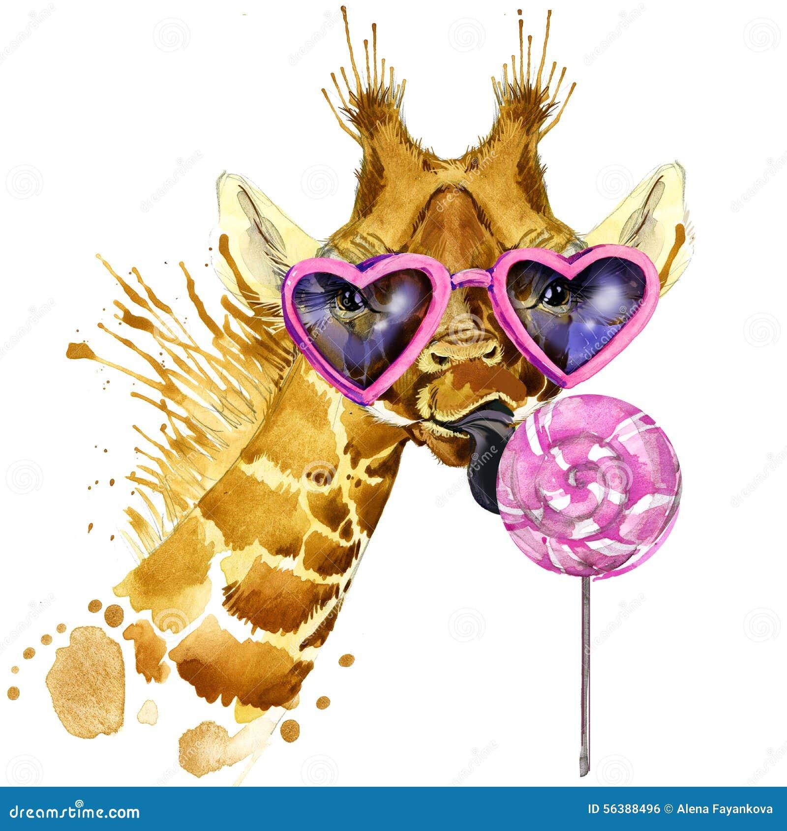 Графики футболки жирафа, жираф и сладостная иллюстрация конфеты с акварелью выплеска текстурировали предпосылку необыкновенное wa