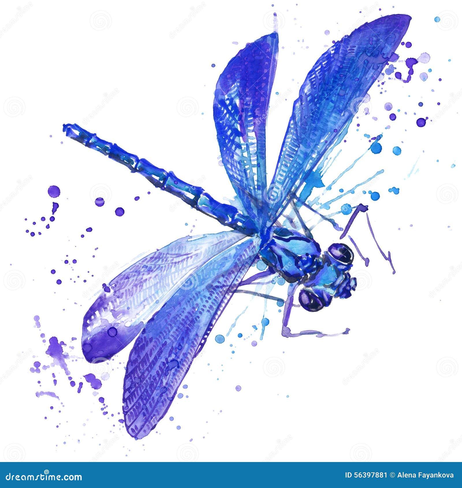 Графики футболки насекомого Dragonfly иллюстрация dragonfly с предпосылкой выплеска текстурированной акварелью необыкновенное wat