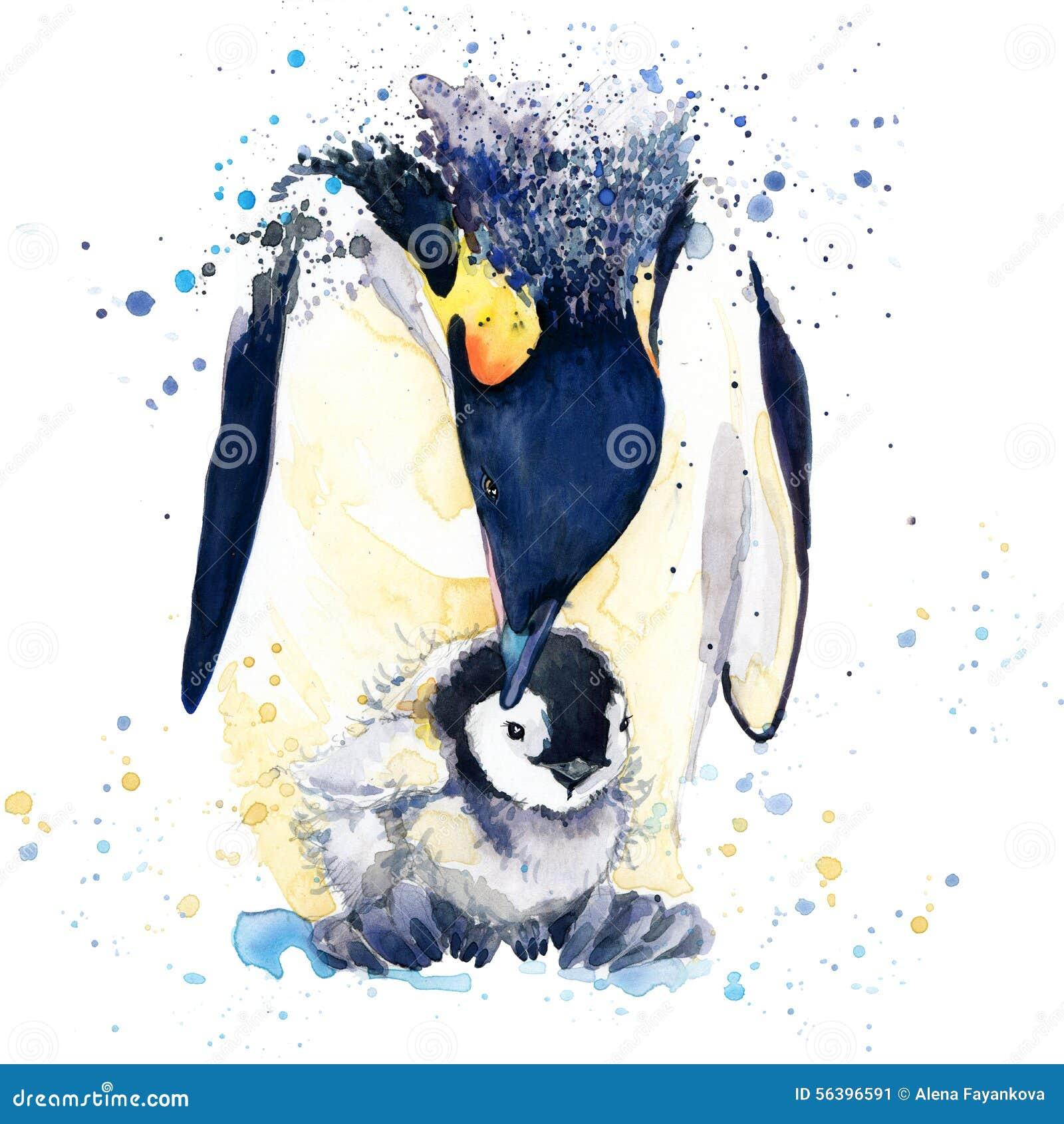 Графики футболки пингвина императора иллюстрация пингвина императора с акварелью выплеска текстурировала предпосылку необыкновенн