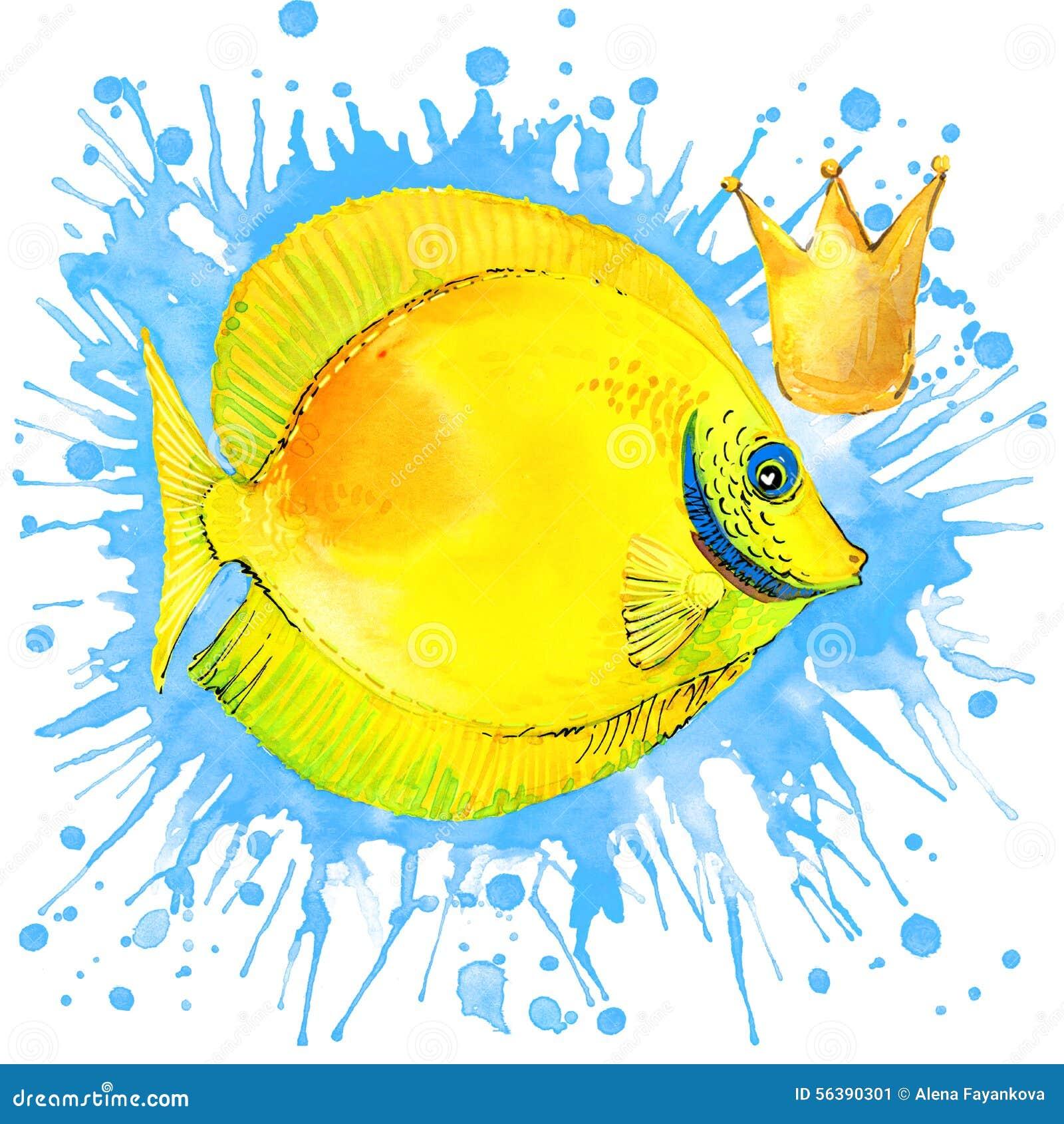 Графики футболки рыб моря иллюстрация рыб моря с акварелью выплеска текстурировала предпосылку необыкновенное море акварели иллюс