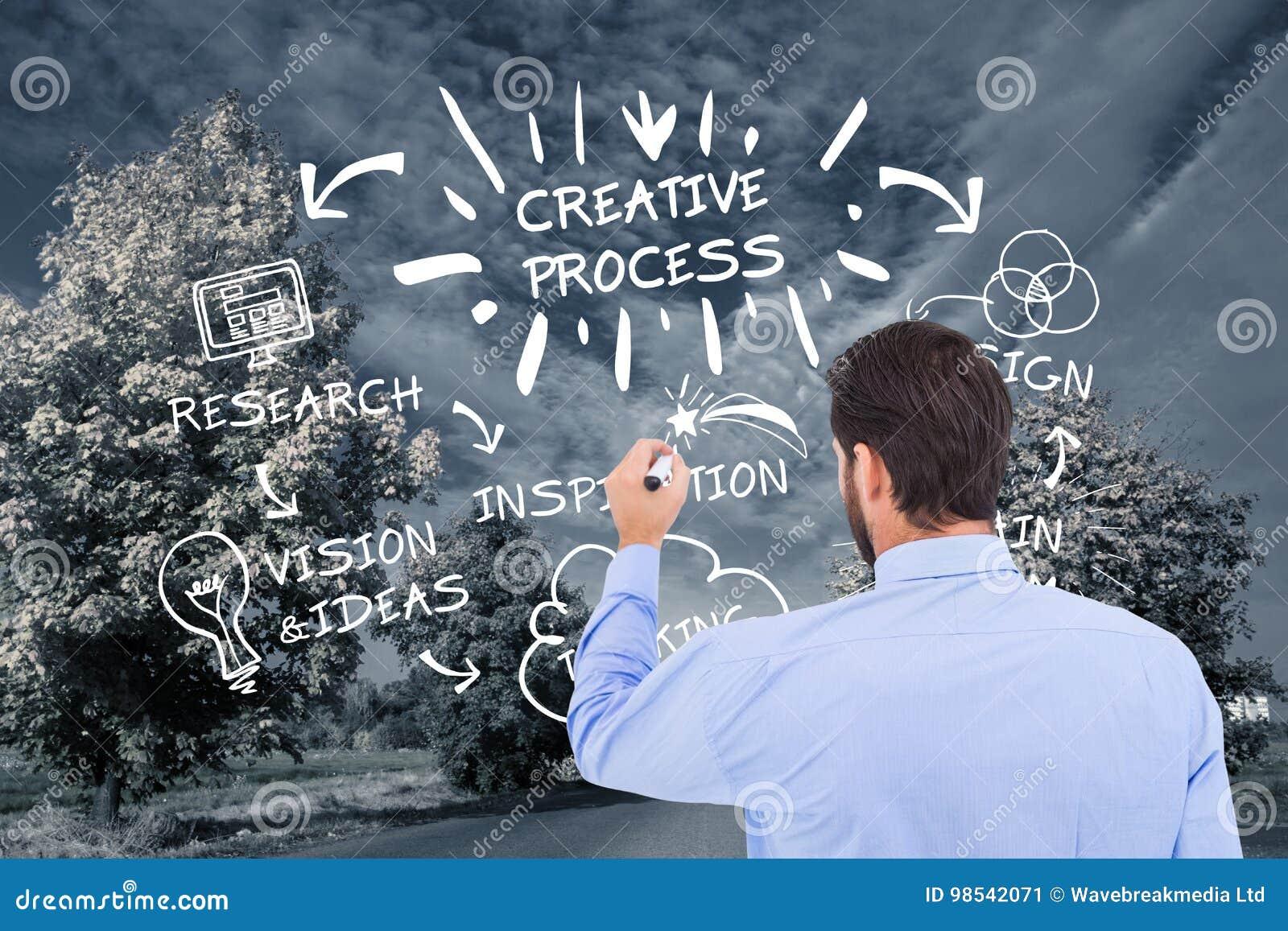 Графики чертежа бизнесмена на дороге