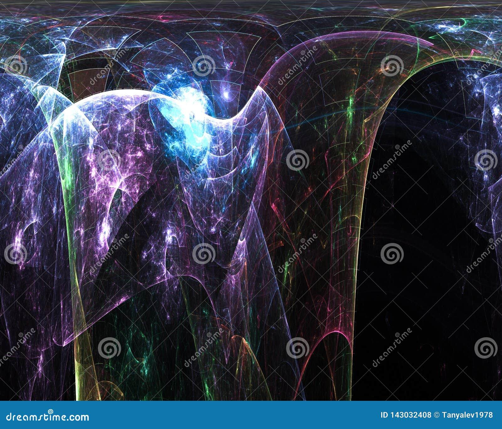 График абстрактного цифрового влияния стиля фрактали живой, представляет художественный, элегантность, динамика