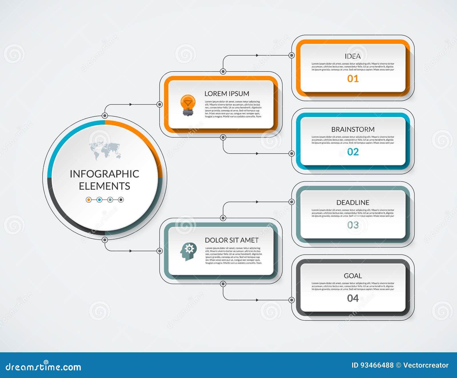 График течения Infographic с 4 вариантами