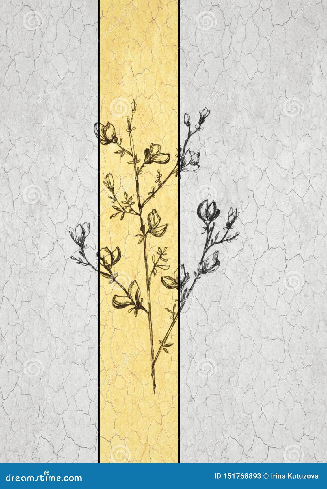 Графическая линия картина цветков на белой предпосылке, красивая иллюстрация искусства monochrome еда плода вегетарианская