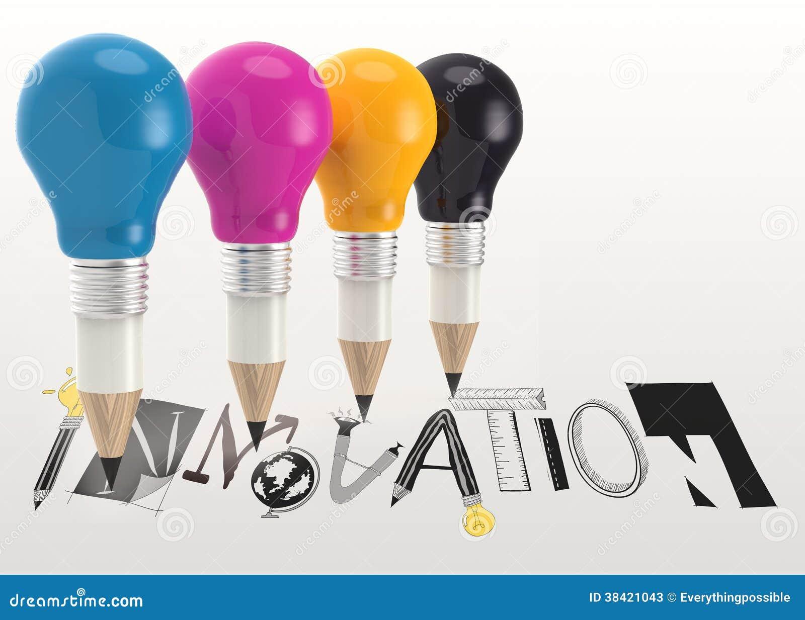 графическое слово НОВОВВЕДЕНИЕ и электрическая лампочка карандаша 3d