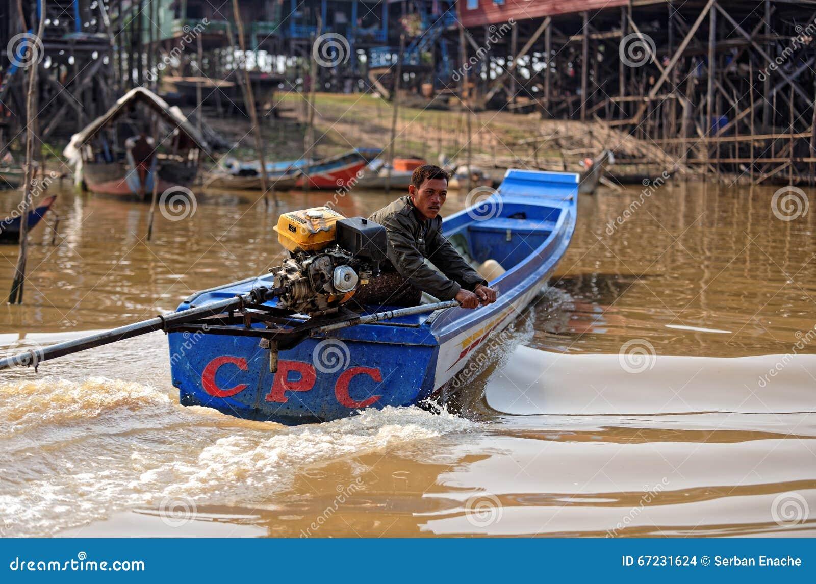 Гребля рыболова, сок Tonle, Камбоджа
