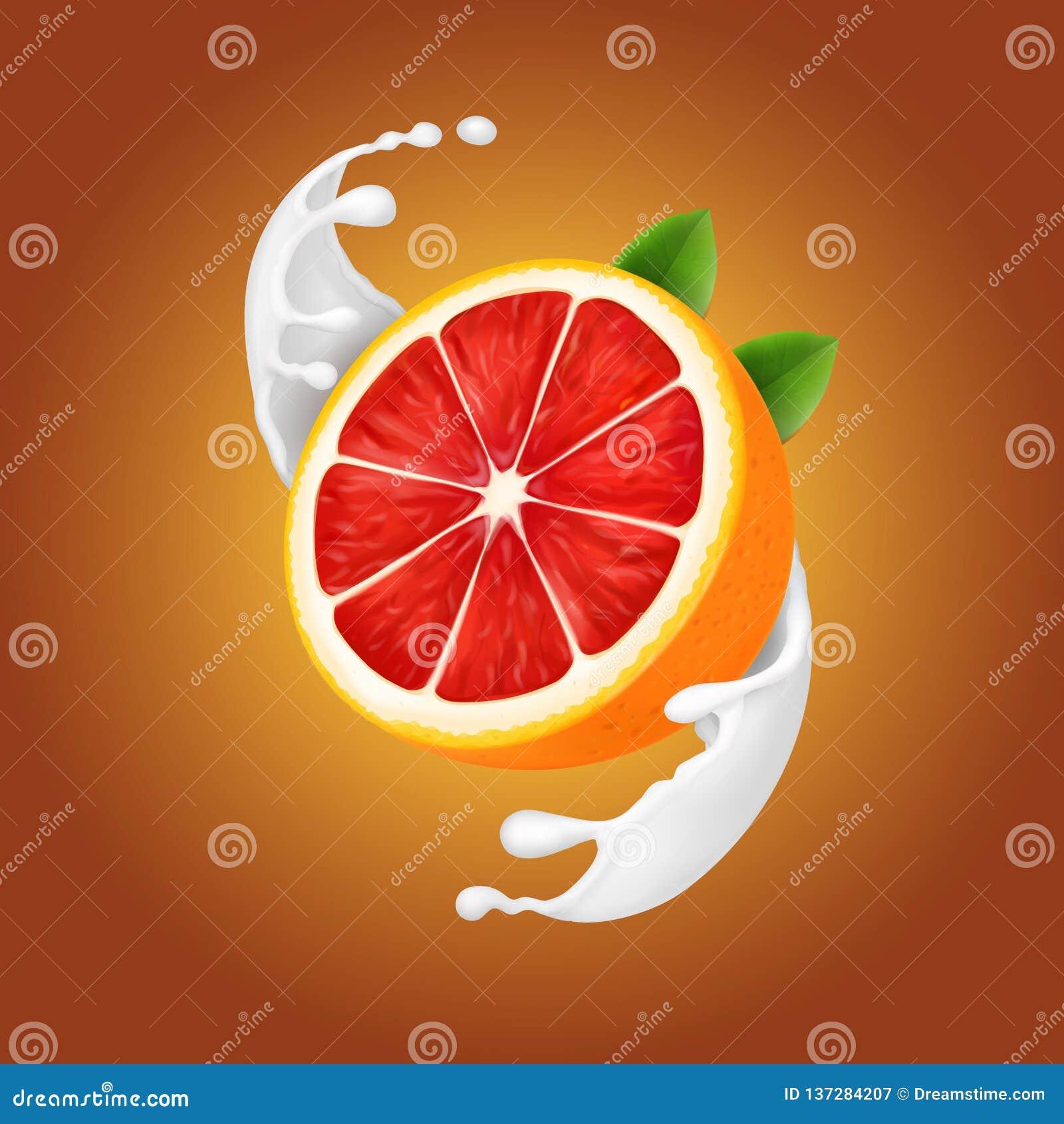 Грейпфрут в выплеске молока или йогурта реалистическом спиральном