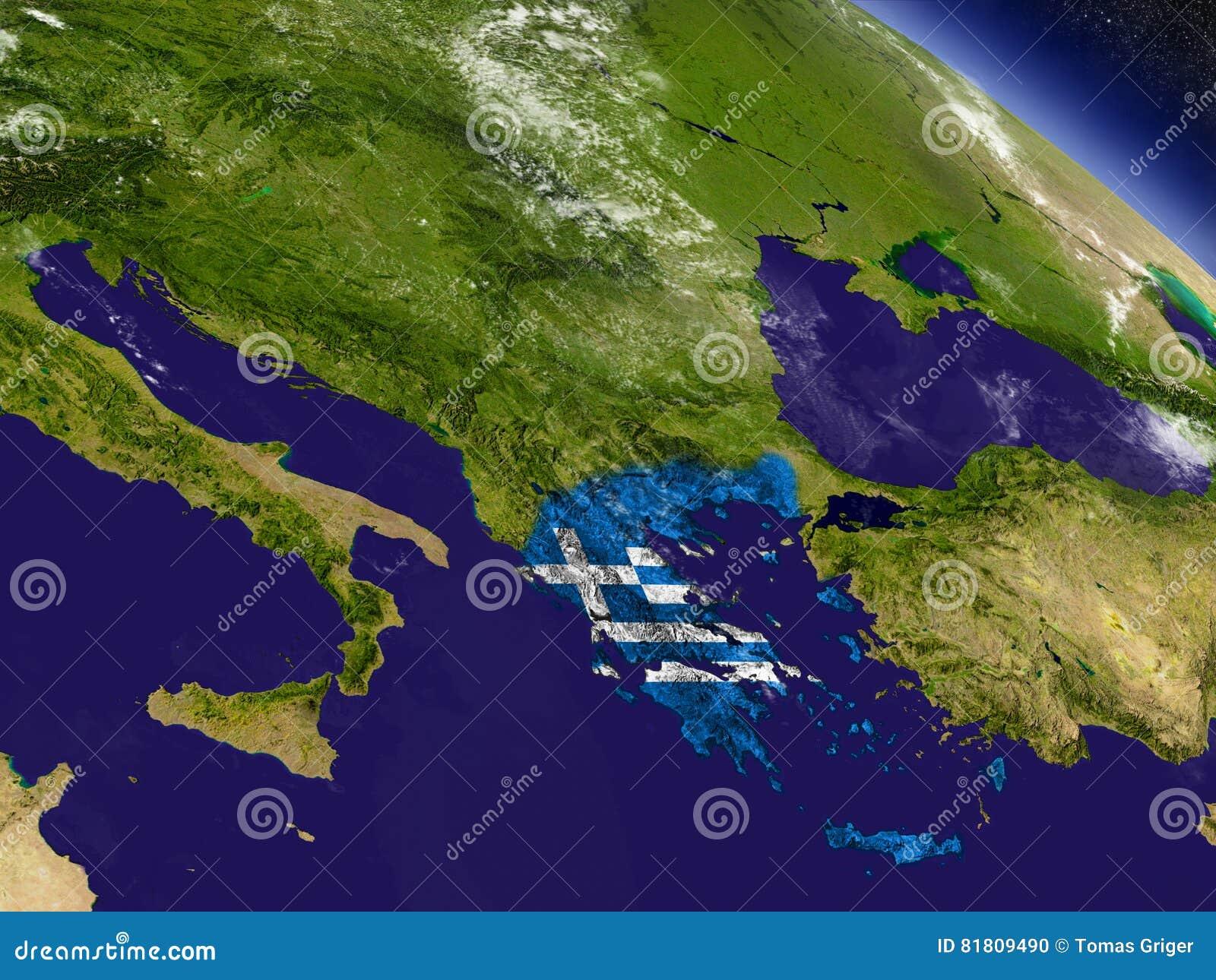 Греция с врезанным флагом на земле