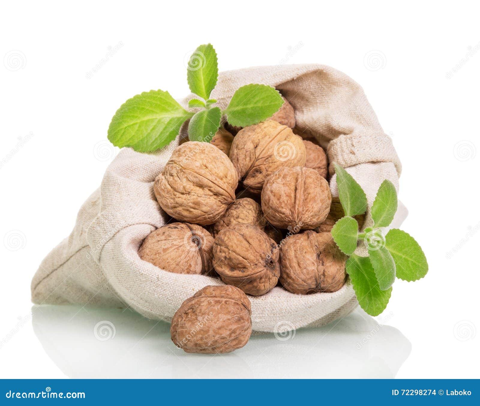 Download Грецкие орехи в мешке от льна изолированного на белой предпосылке Стоковое Фото - изображение насчитывающей раковина, возмужало: 72298274