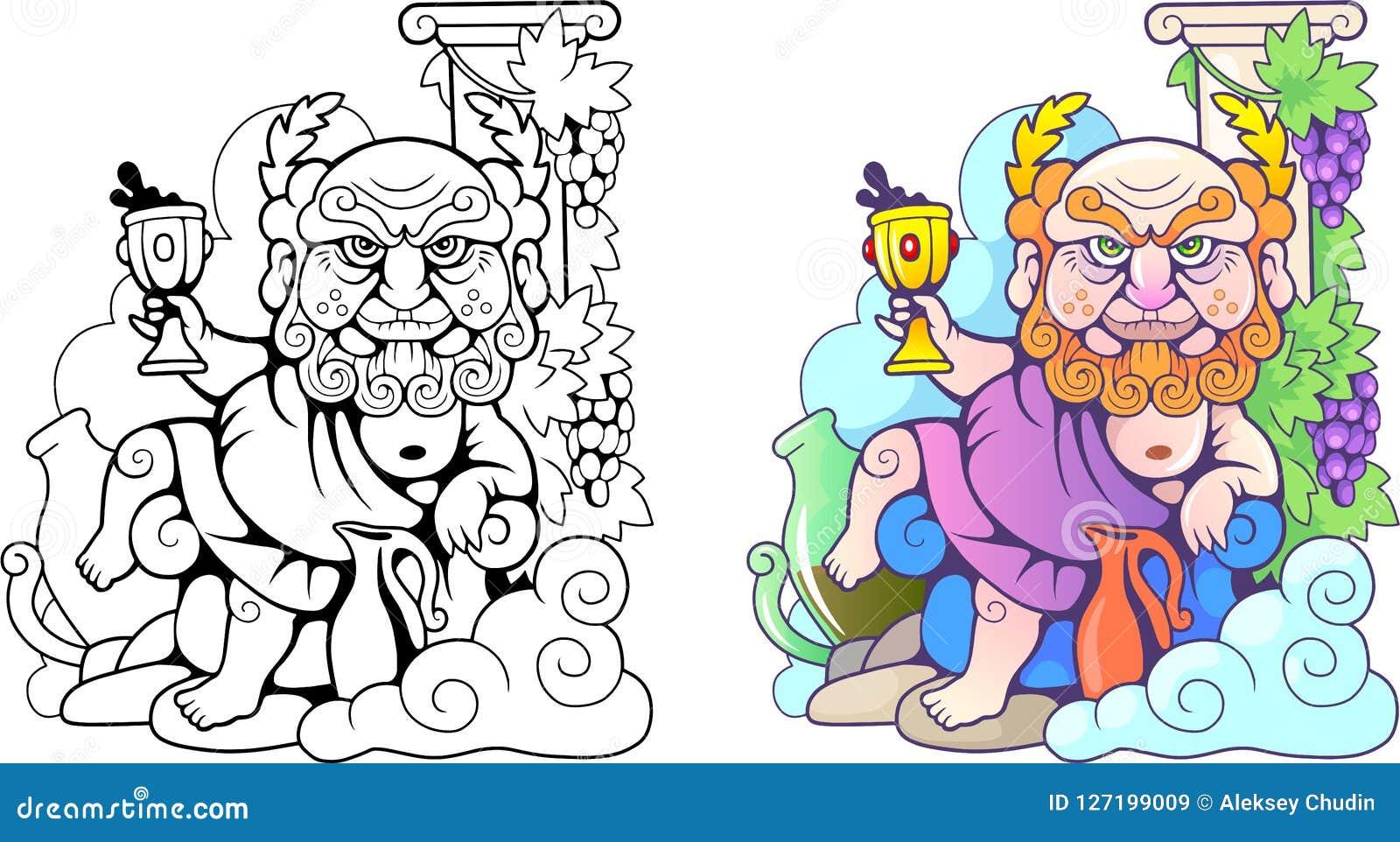 греческий бог Dionysus смешная иллюстрация книжка