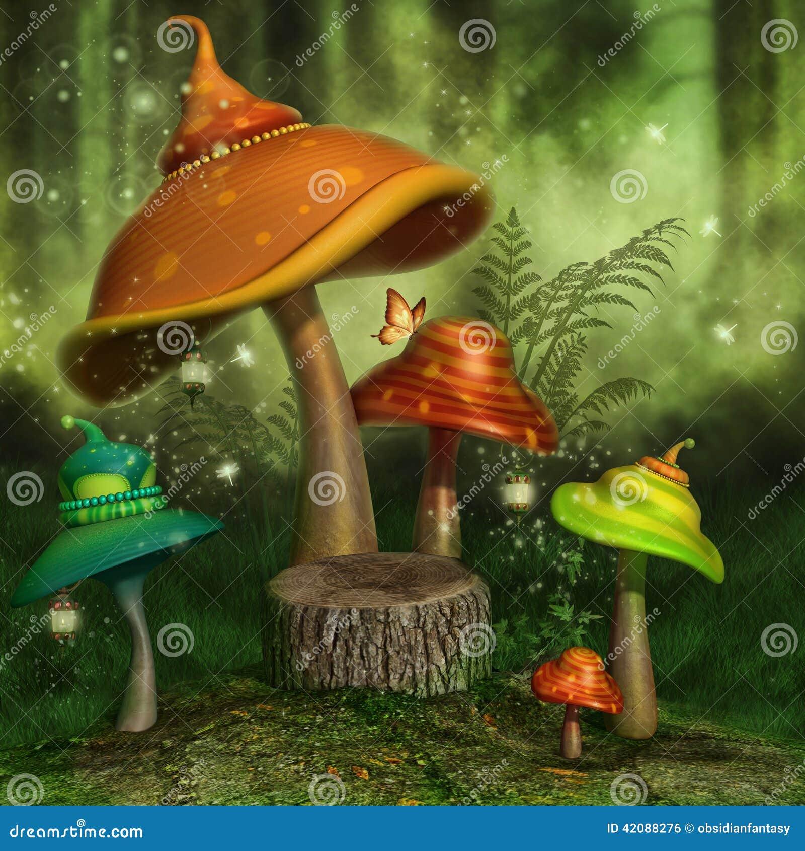 Грибы фантазии в лесе