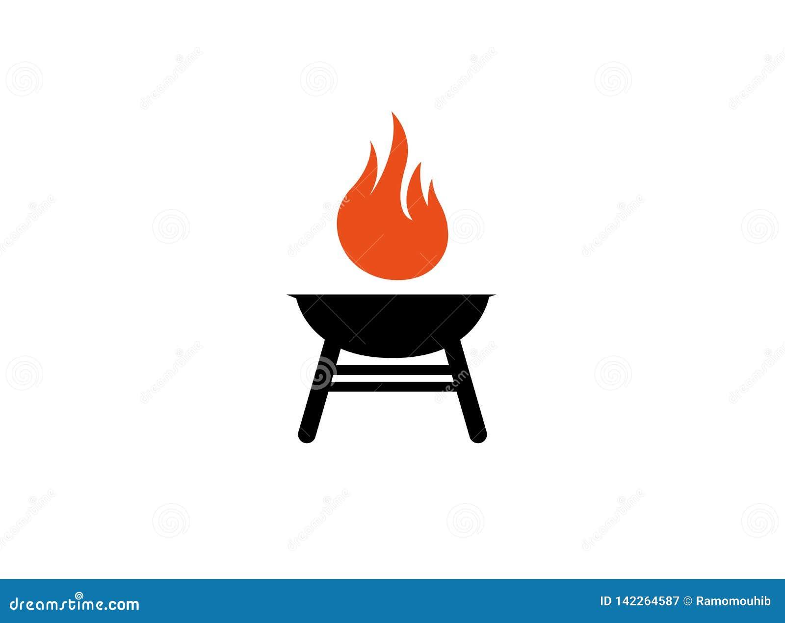 Грили барбекю с огнем для логотипа