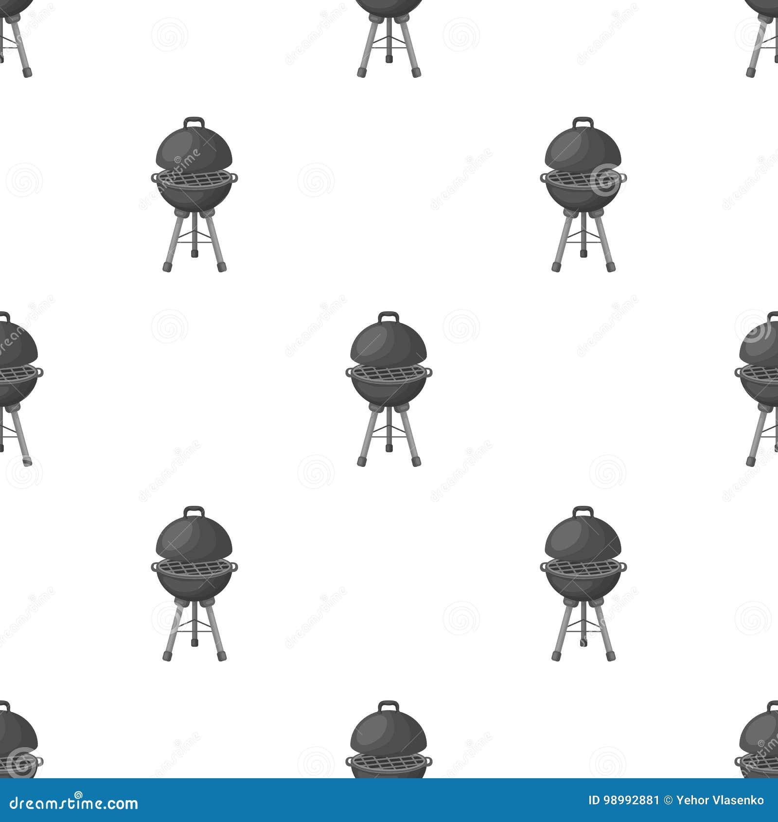 Гриль для барбекю Значок BBQ одиночный в monochrome сети иллюстрации запаса символа вектора стиля