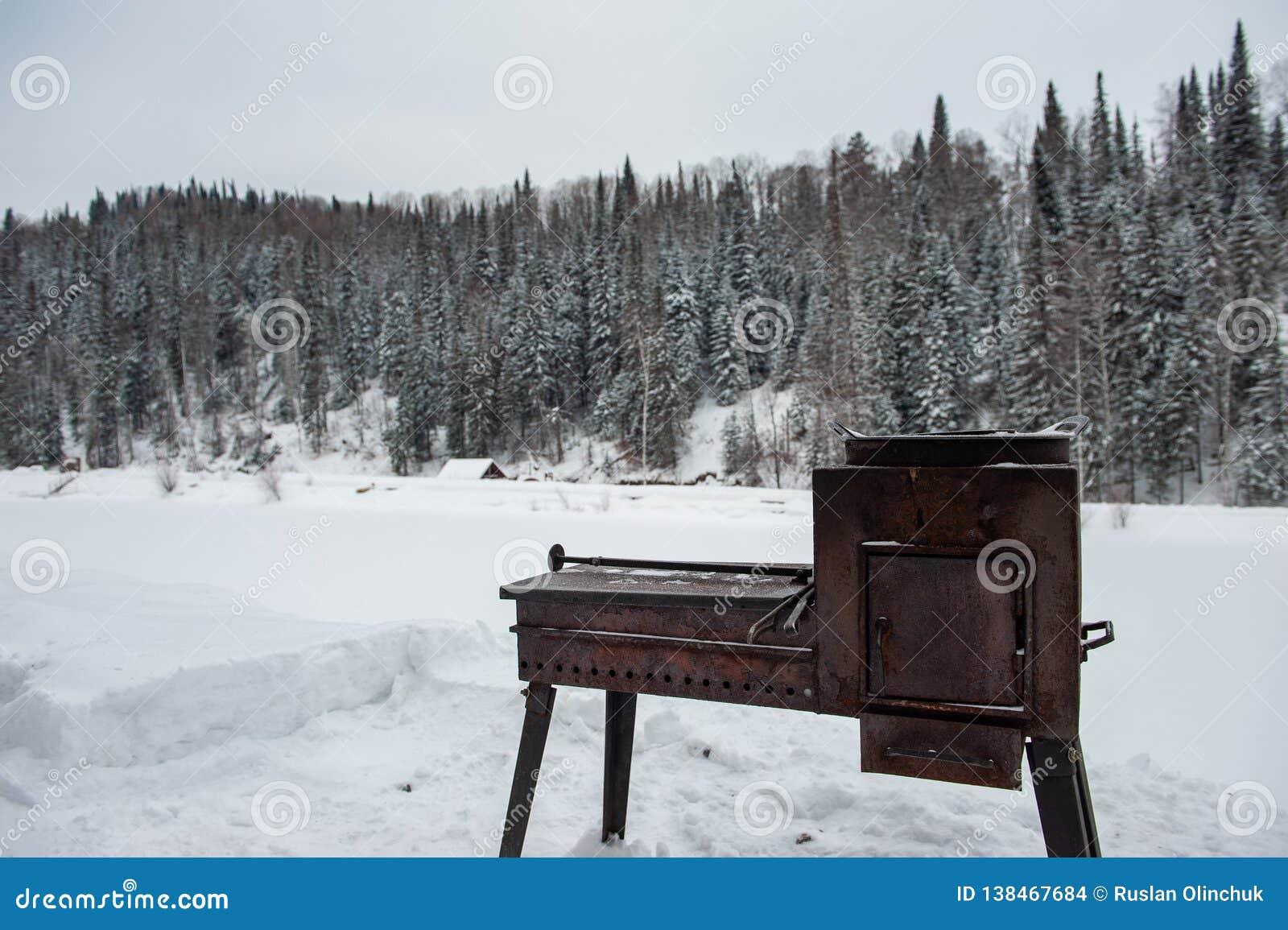 Гриль металла ржавый в лесе зимы