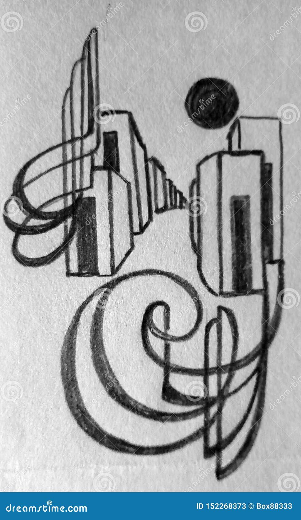 Грубый абстрактный чертеж карандаша на бумаге Темные линии и пятна