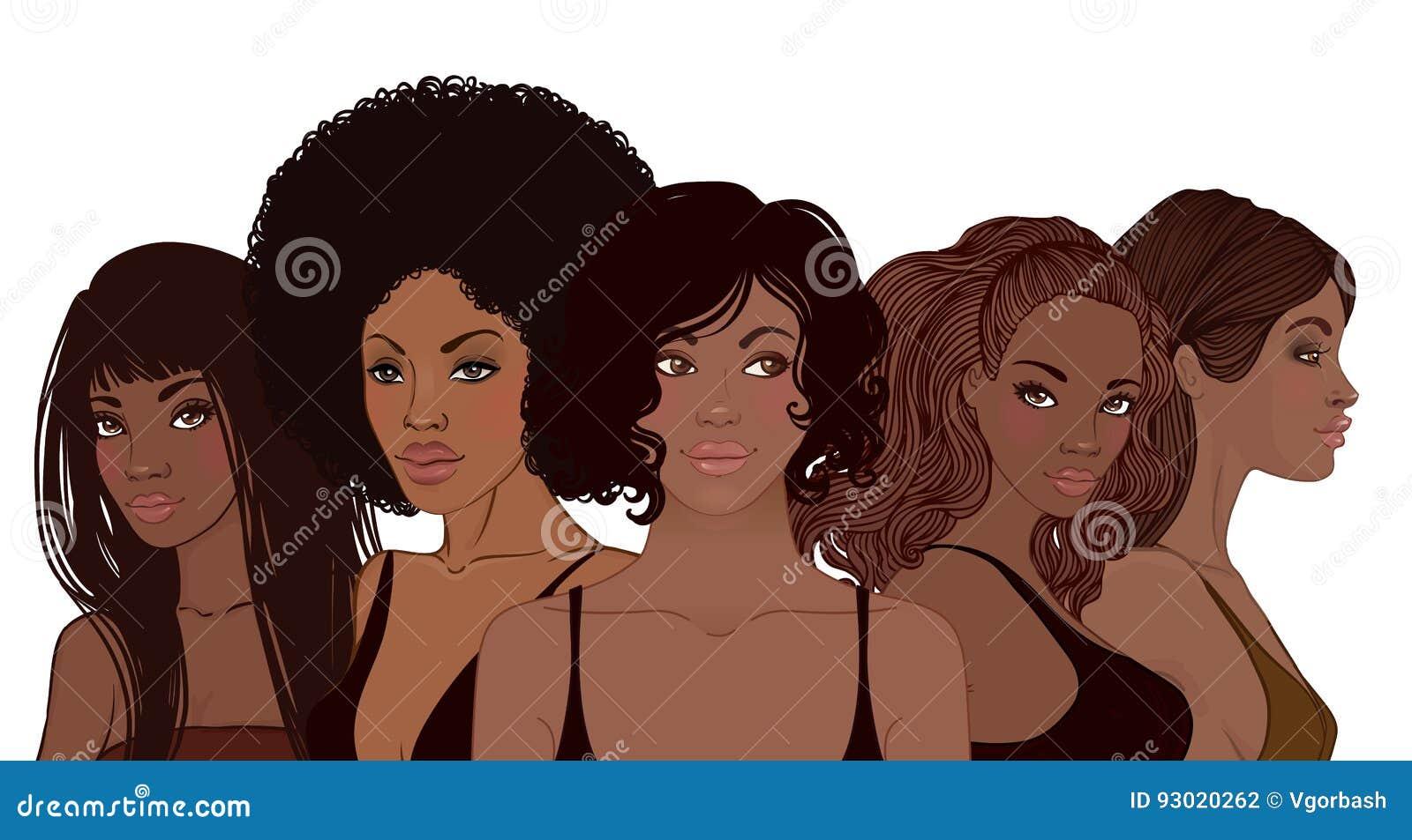 Группа в составе Афро-американские милые девушки Женский портрет Черный b