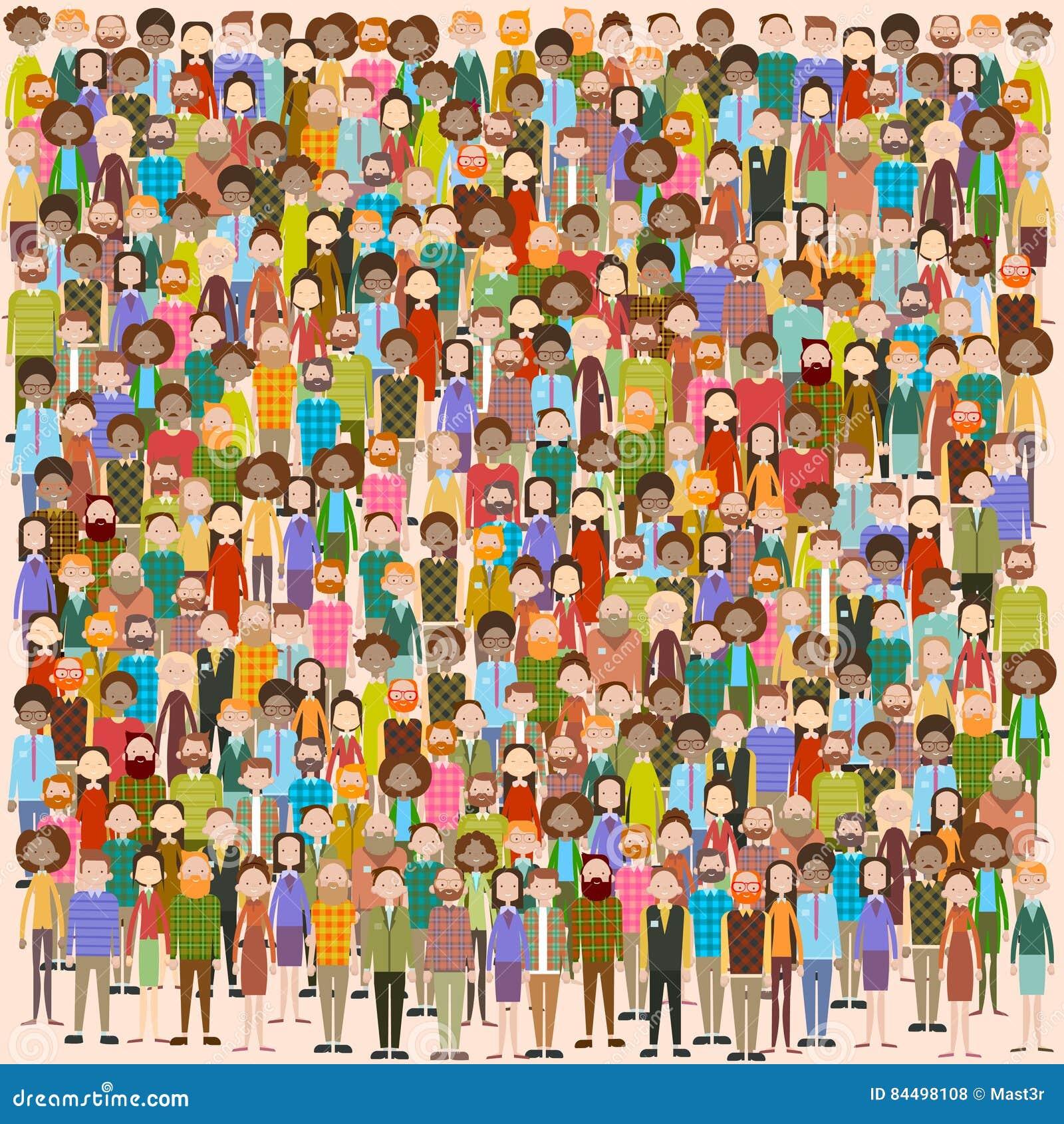 Группа в составе больших бизнесмены предпринимателей толпы смешивает этническая разнообразную