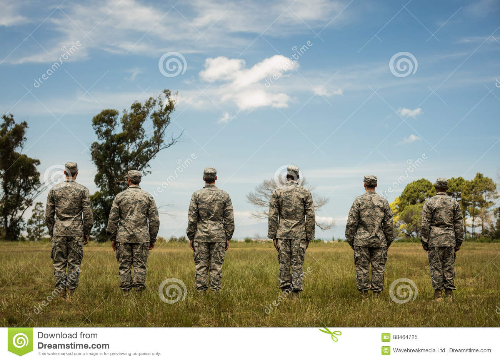 Группа в составе воинские солдаты стоя в линии