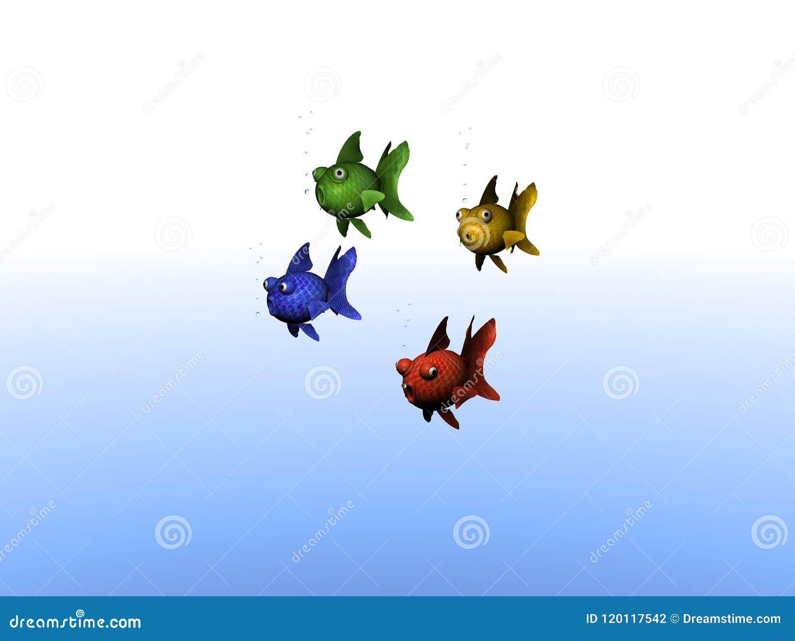 Группа в составе покрашенные рыбы