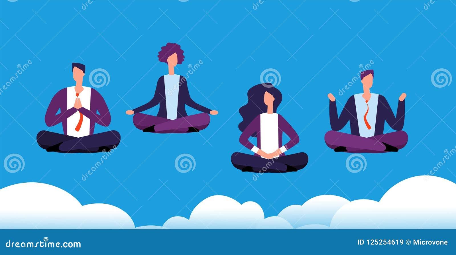 Группа йоги раздумья Команда дела ослабляя и размышляя в представлении лотоса Работники офиса избегают стресса Концепция вектора