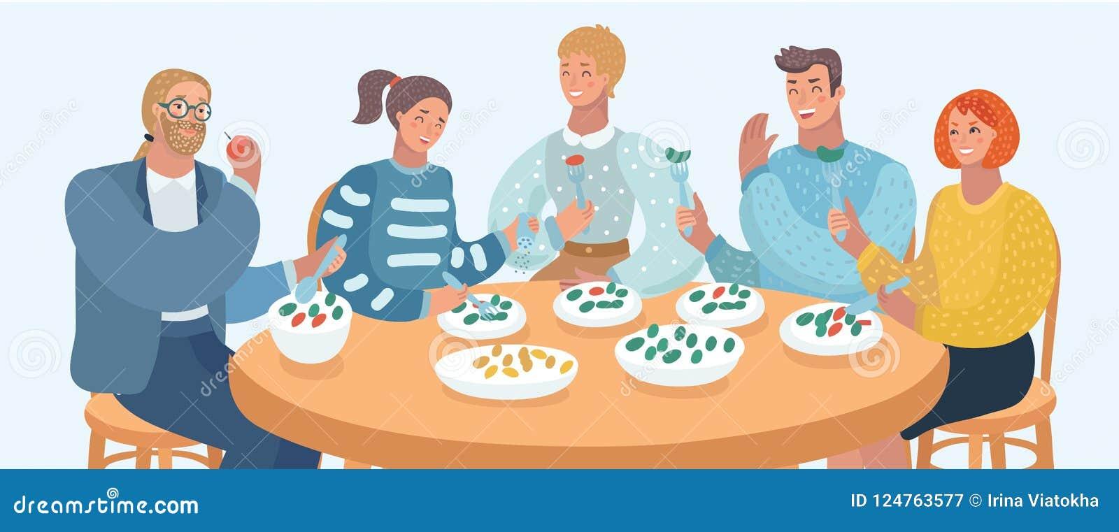 Группа людей ест