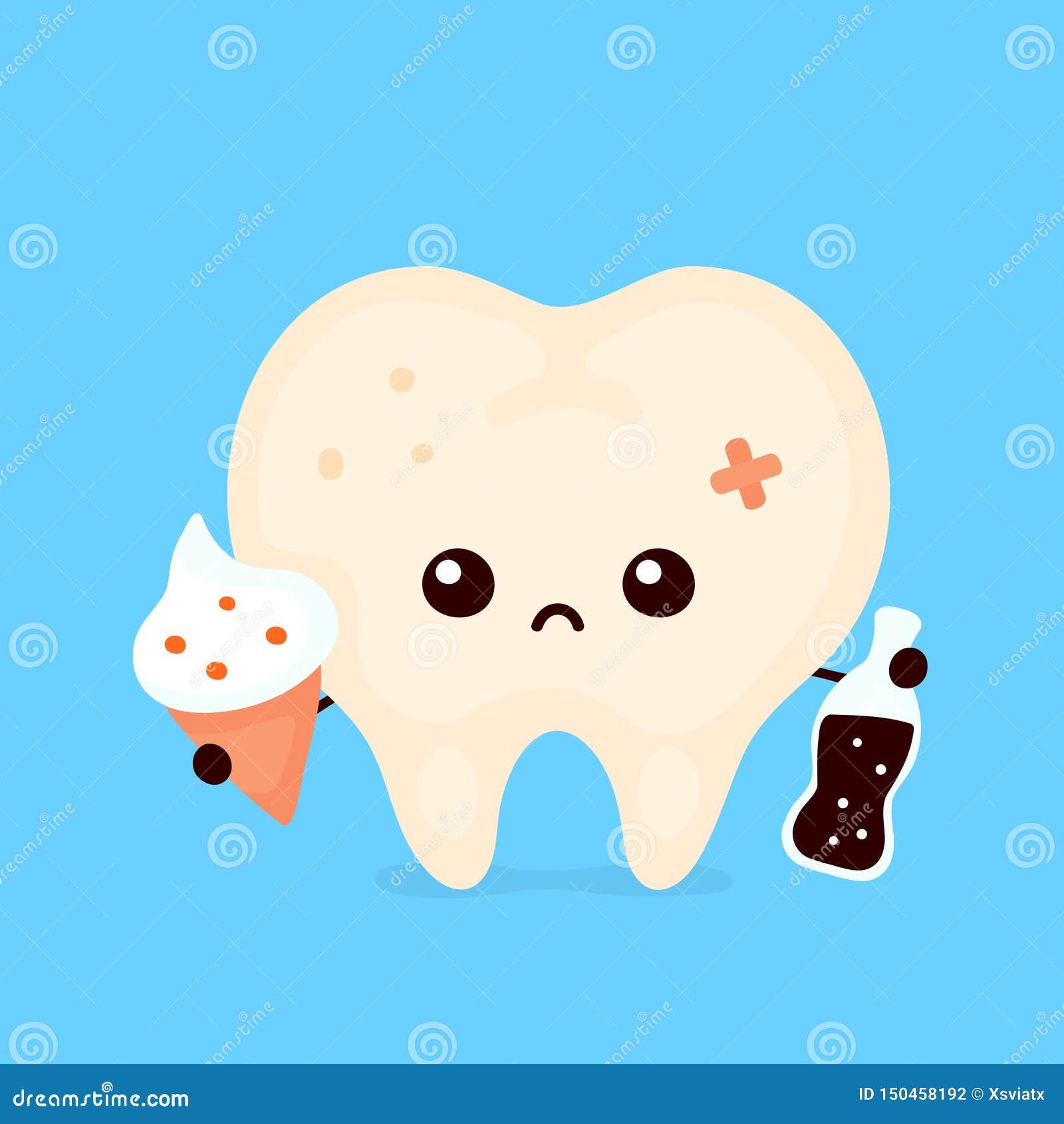 Грустный нездоровый больной человеческий зуб