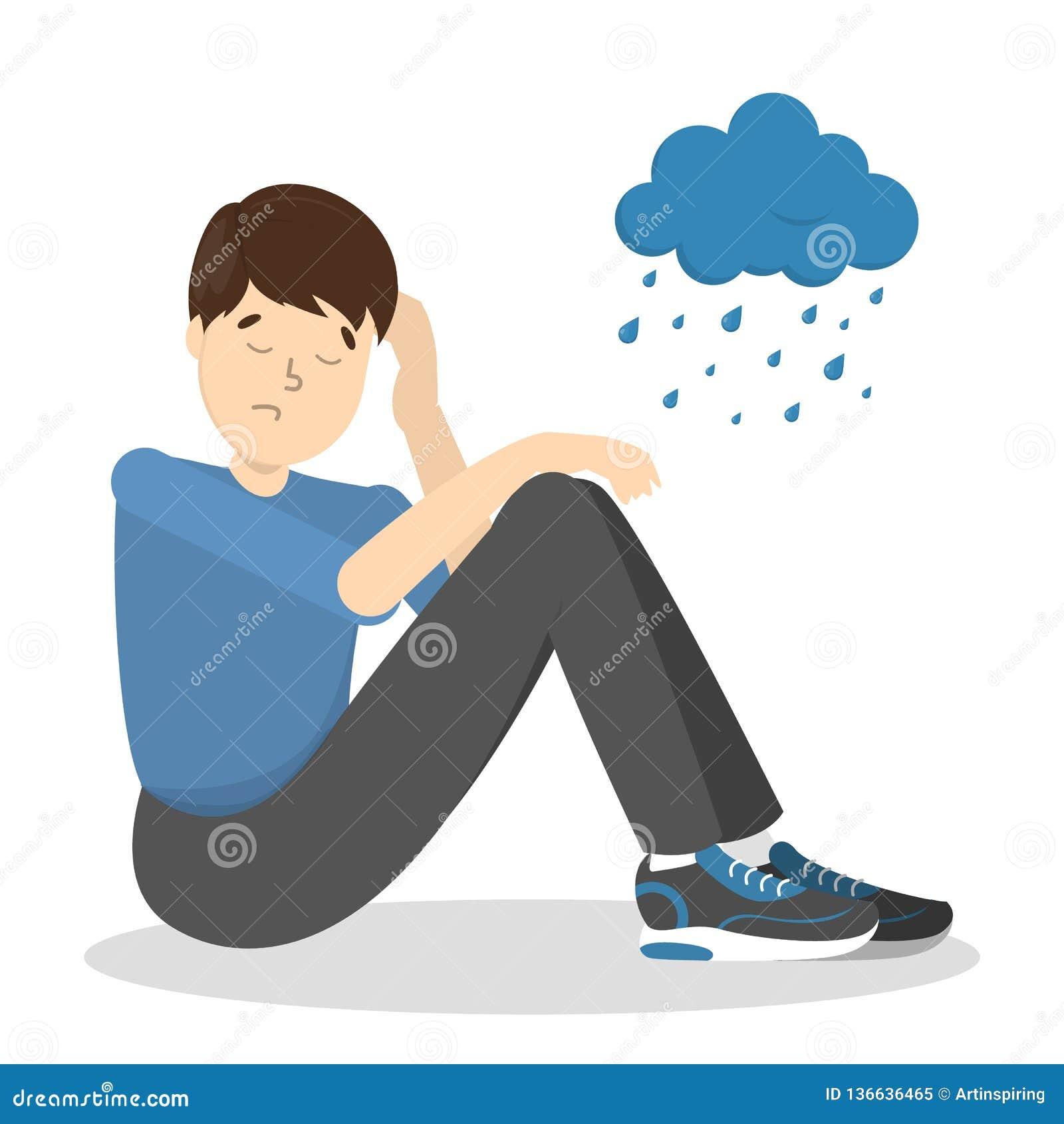 Грустный подавленный человек с дождливым облаком выше