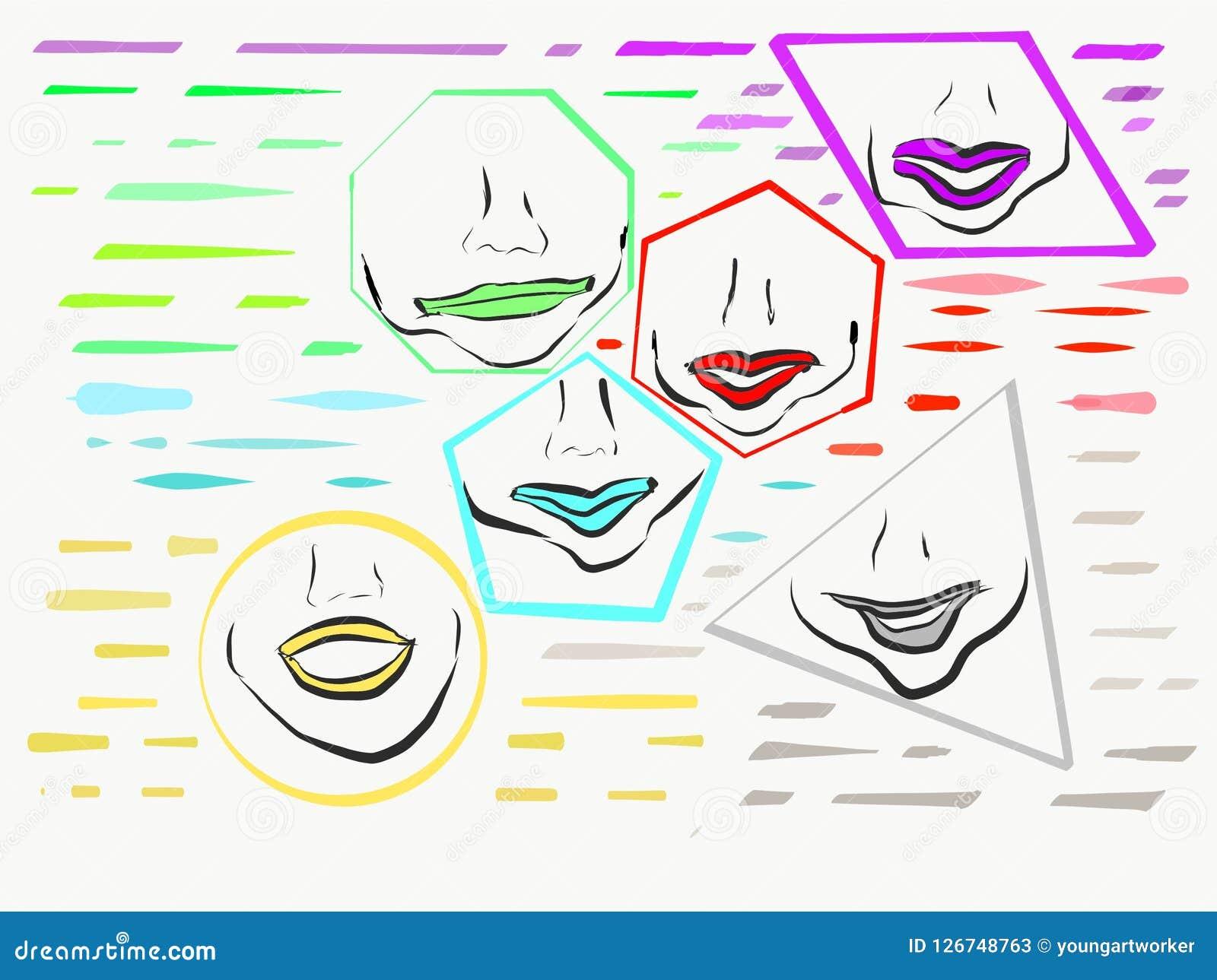 Губы внутри форм других цветов