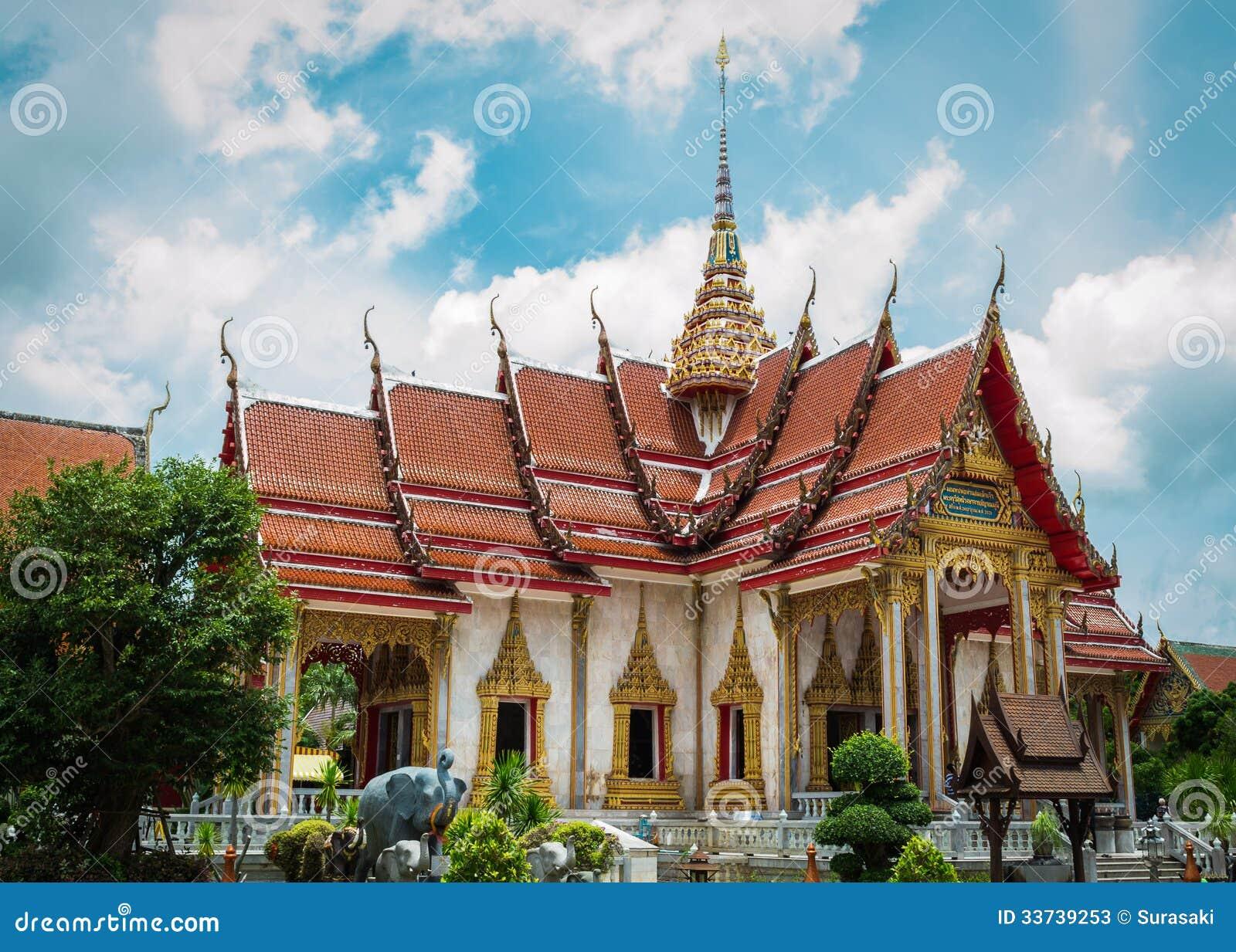 Главная часовня на виске chalong, Пхукете, Таиланде