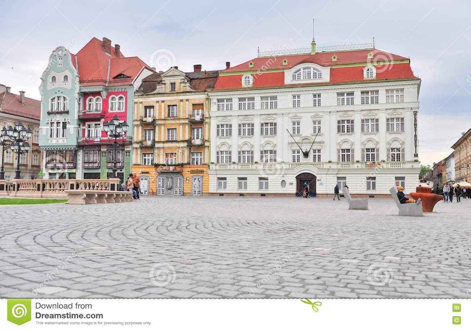 Главная площадь городка Timisoara старого, Румынии