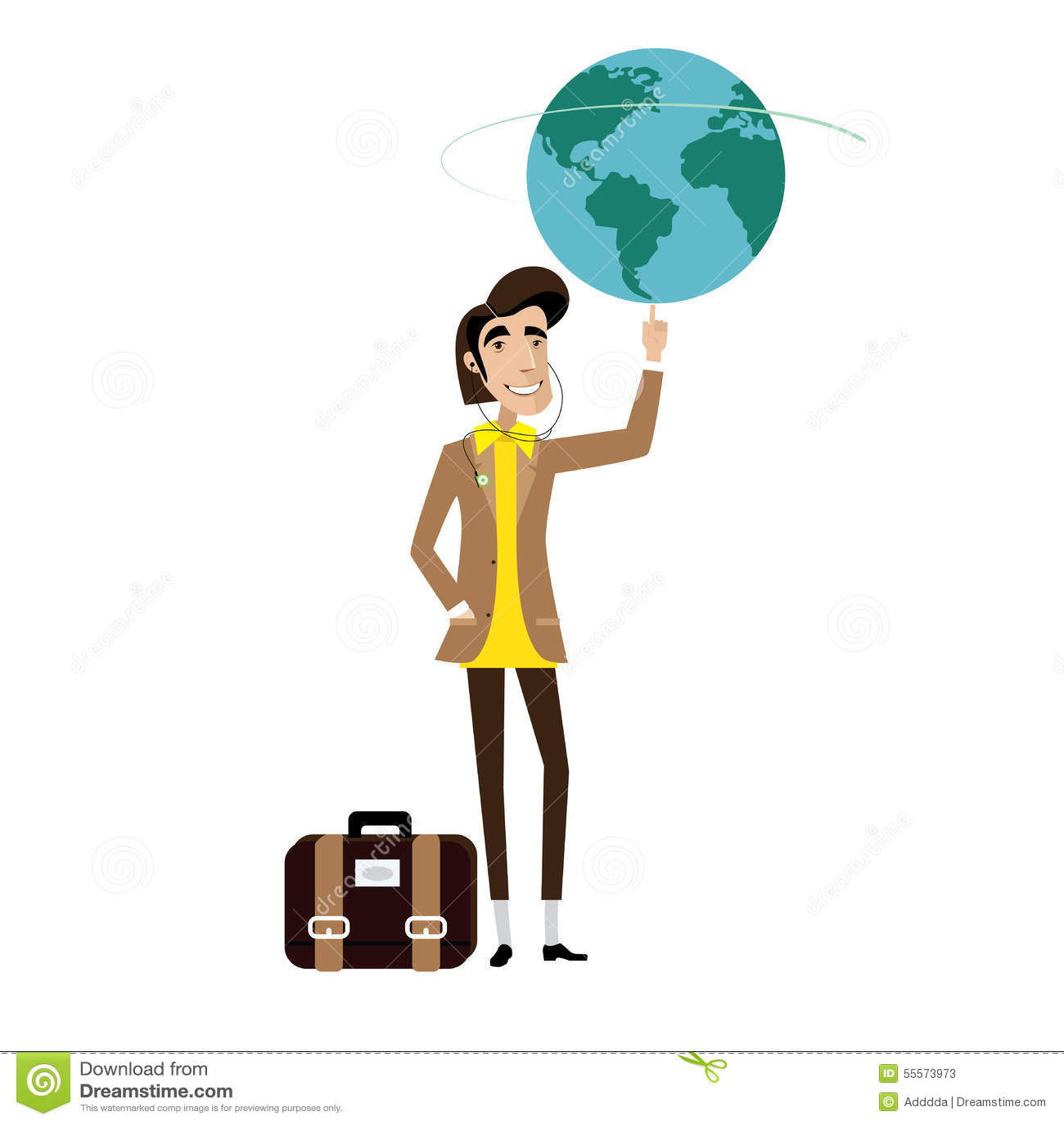 Глобус человека путешественника закручивая на пальце