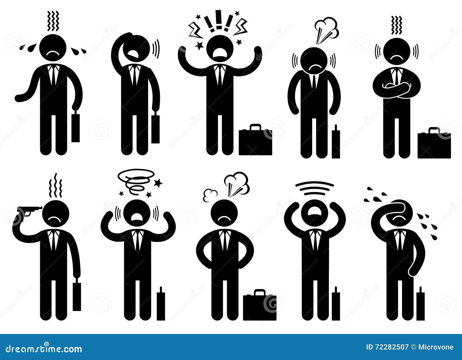 Download Давление стресса бизнесмена, вопросы дела умственные, значки вектора концепции с характерами людей пиктограммы Иллюстрация вектора - иллюстрации насчитывающей плоско, график: 72282507