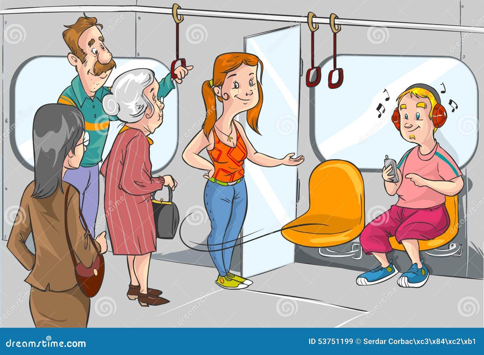 Дайте место к старухе на метро