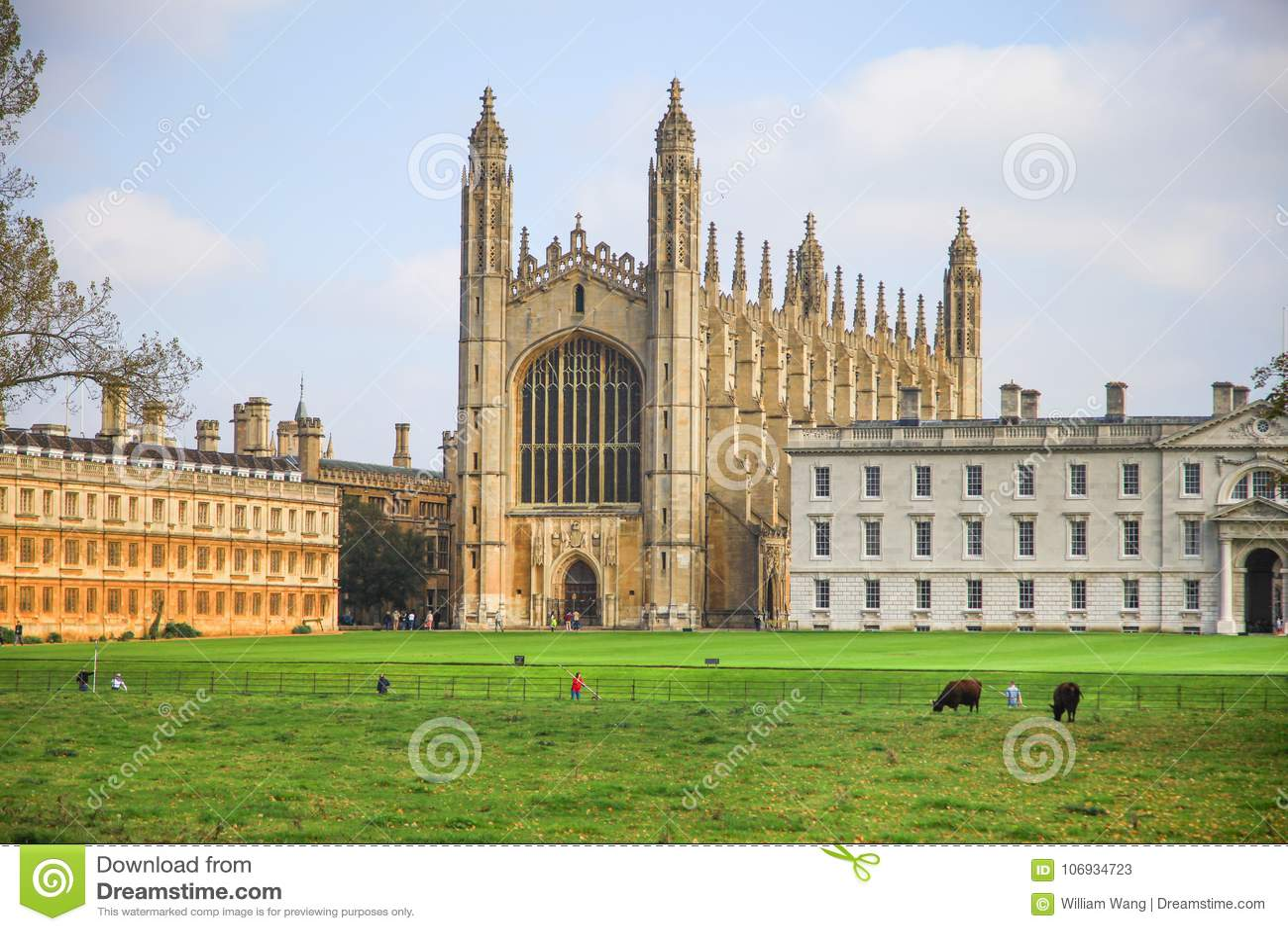 Далекий взгляд часовни в коллеже ` s короля в Кембриджском университете
