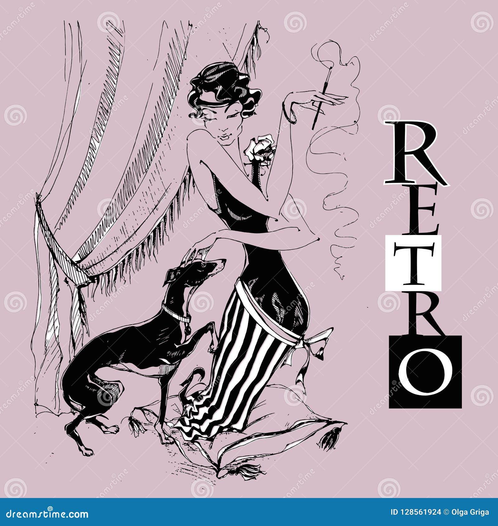 Дама с борзой Ретро-стиль графики monochrome вектор