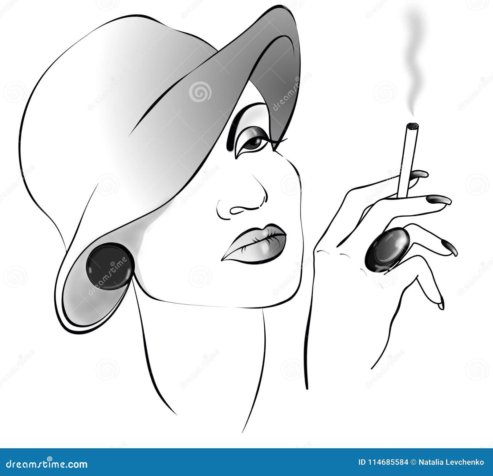 Дама чертежа Black&white с сигаретой в шляпе