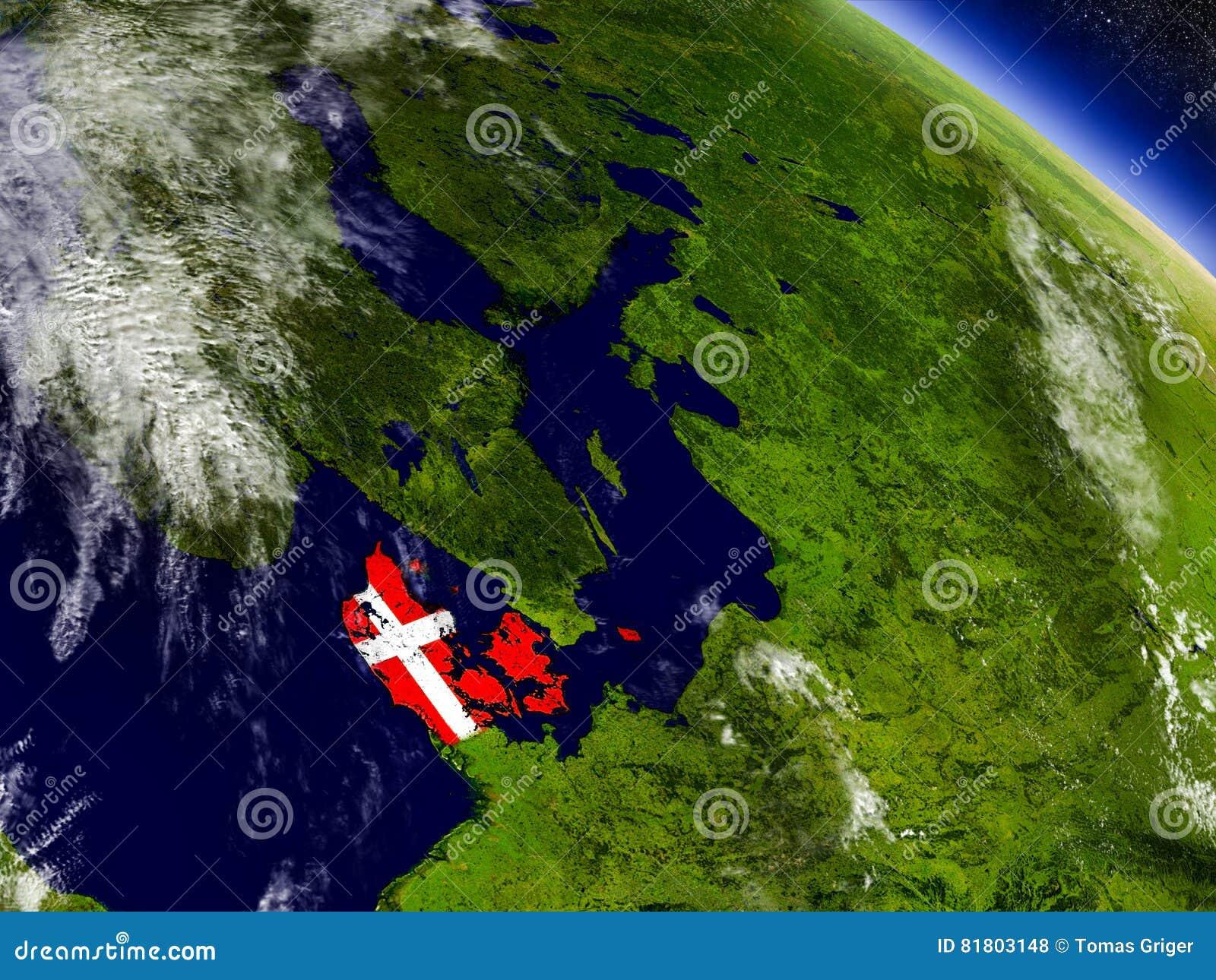 Дания с врезанным флагом на земле