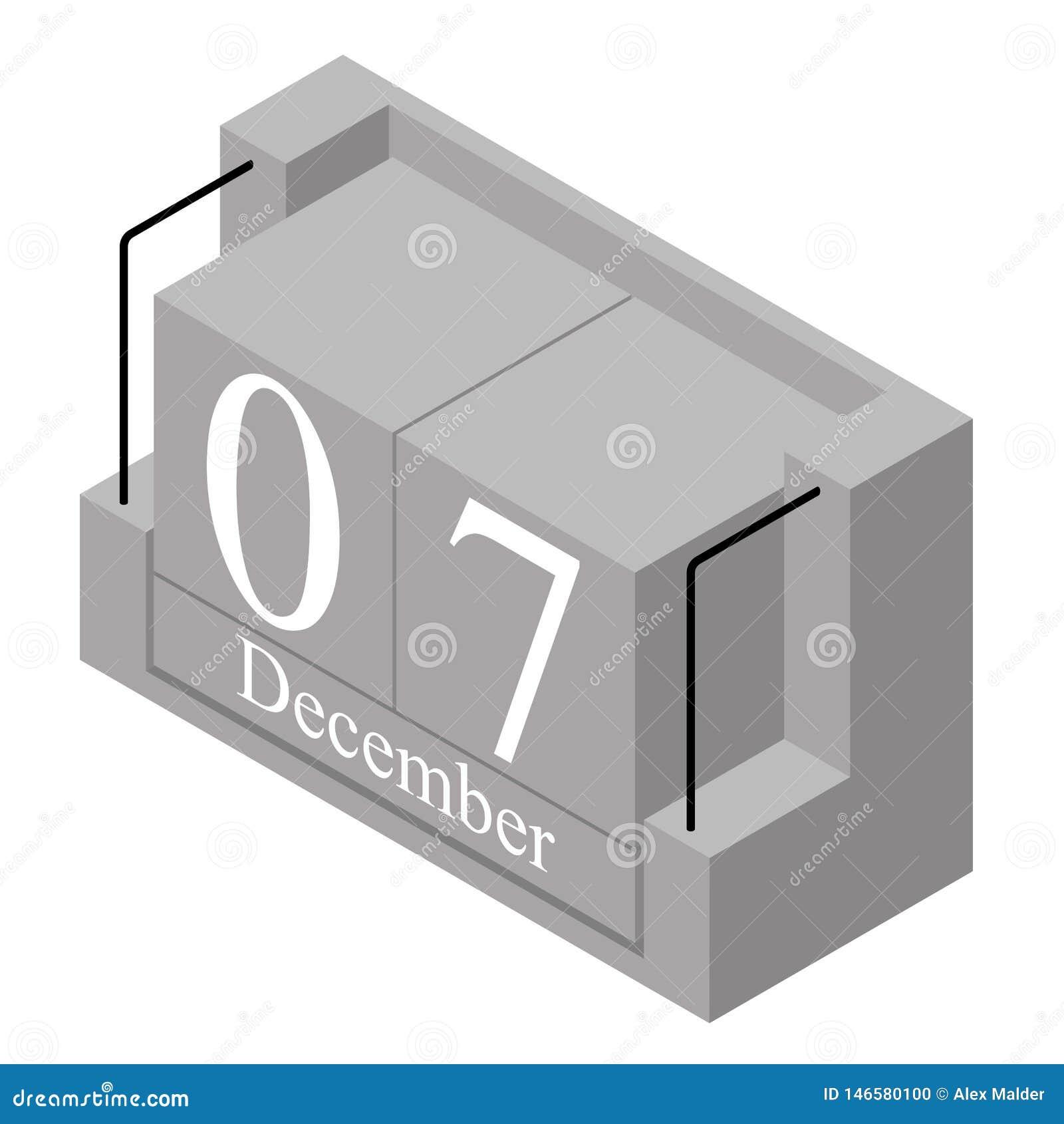Дата 7-ое декабря на в течение одного дня календаре Серая дата 7 календаря деревянного блока присутствующая и месяц декабрь изоли