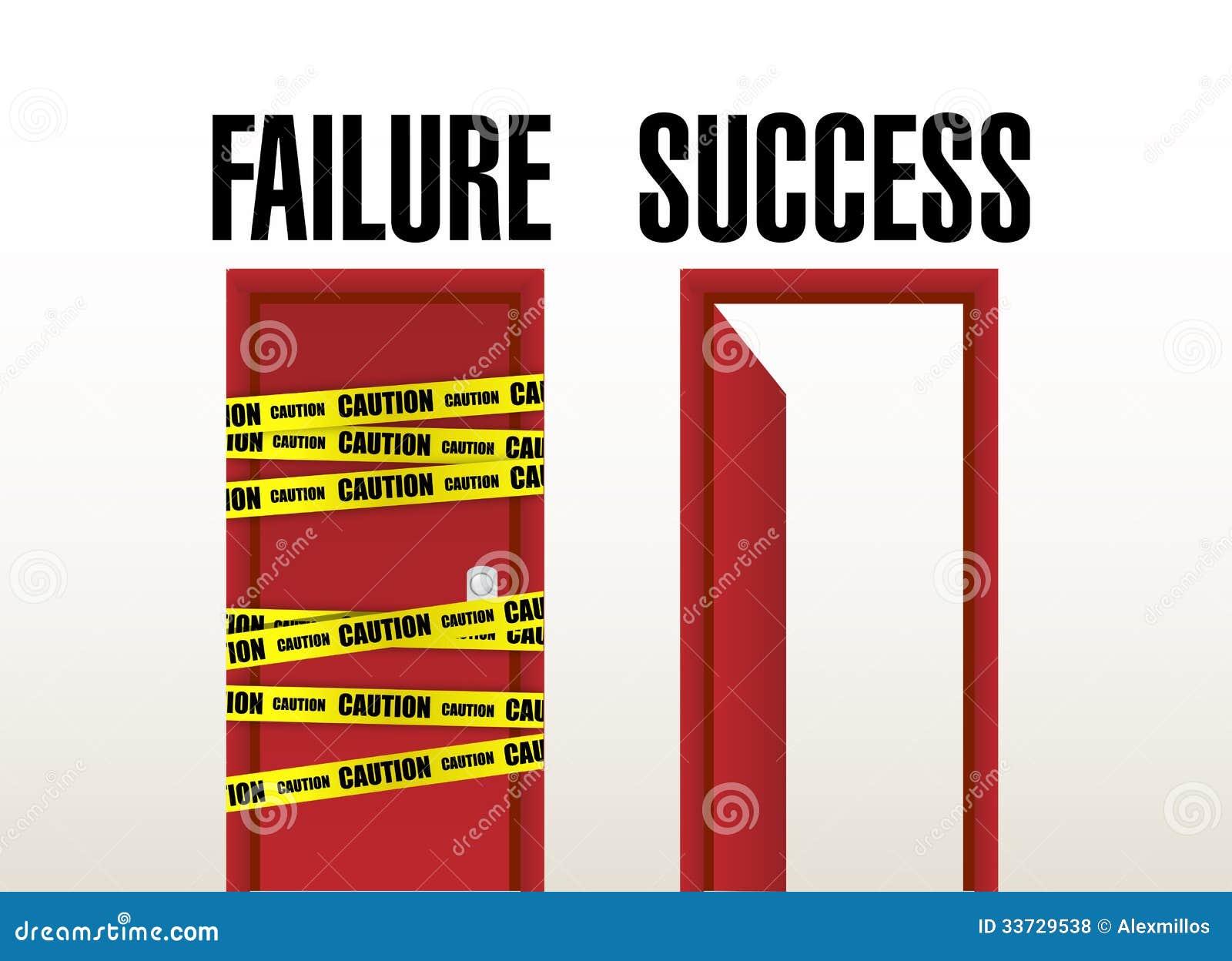 Двери отказа и успеха. дизайн иллюстрации