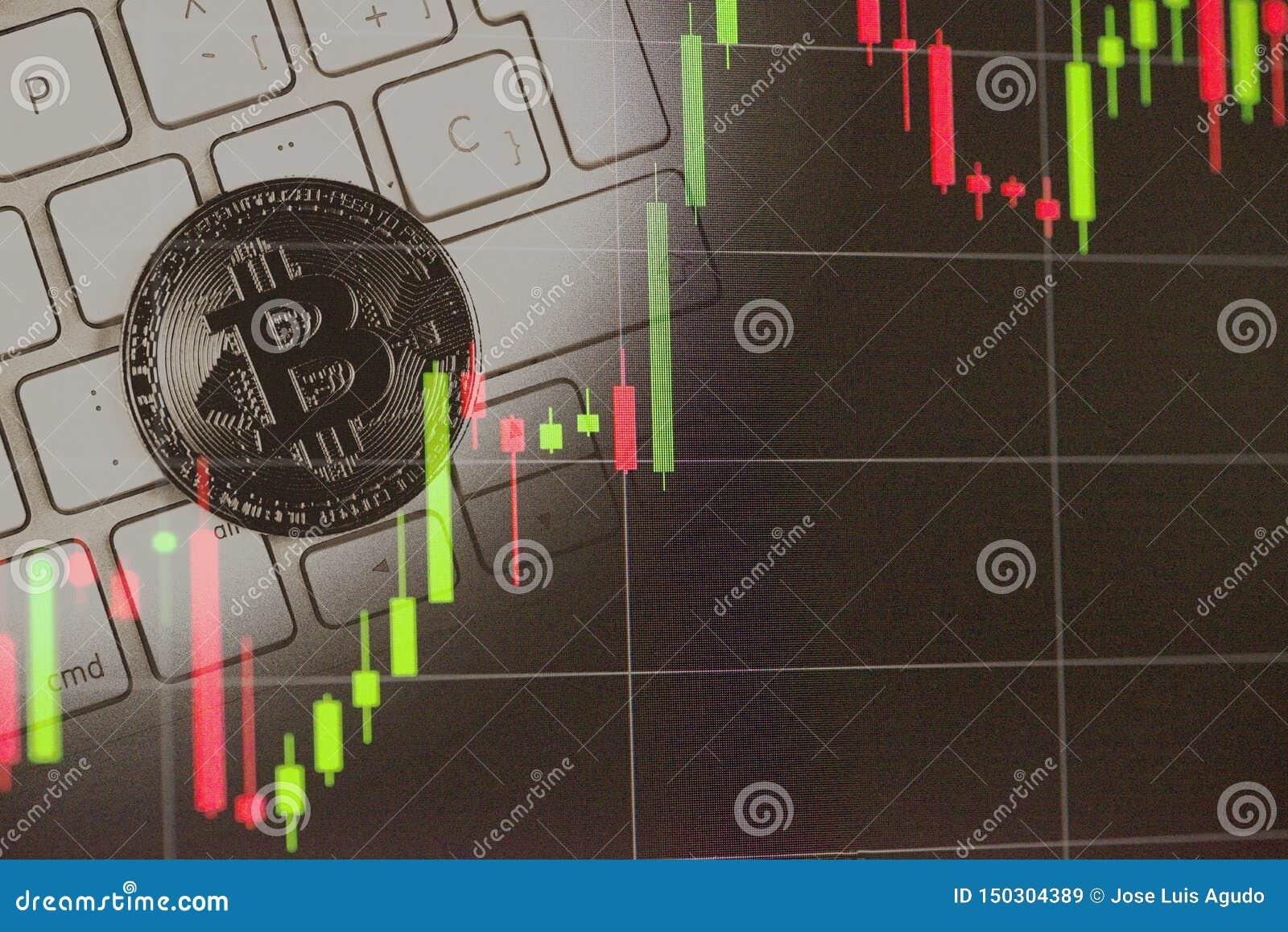 Двойная экспозиция фото Bitcoin и диаграмм фондовой биржи Bitcoins