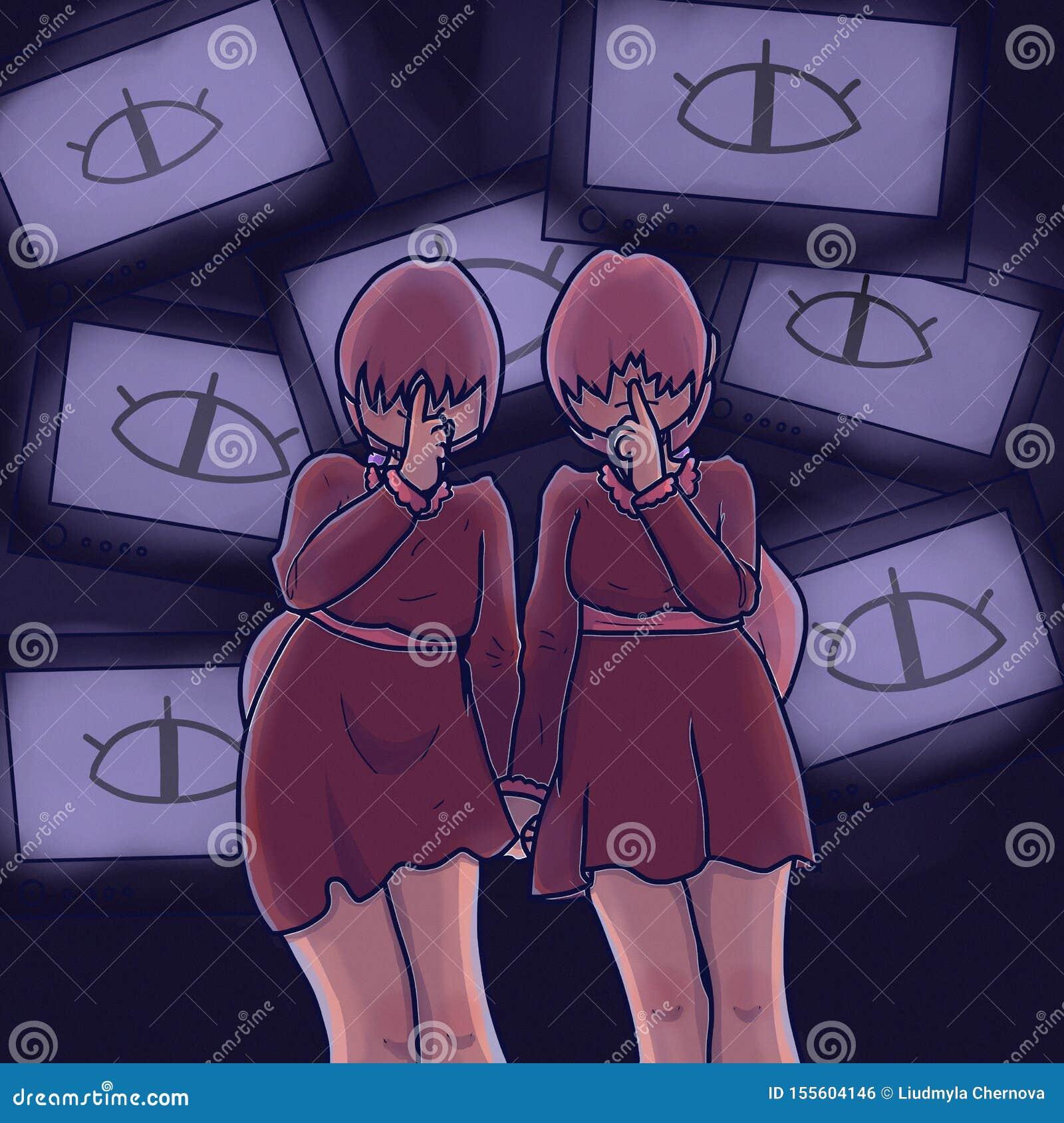 Двойные девушки Предназначенные для подростков девушки Герои мультфильма Речь, зажим с ТВ